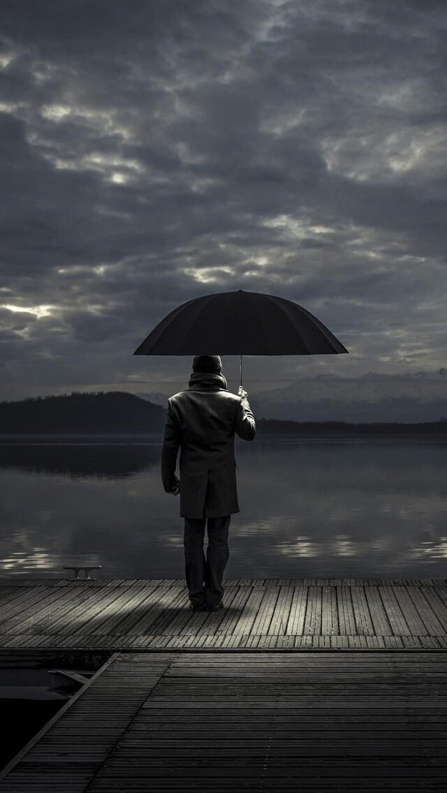 Download Alone man With Umbrella HD 4k Wallpapers In 640x1136 Screen Resolution