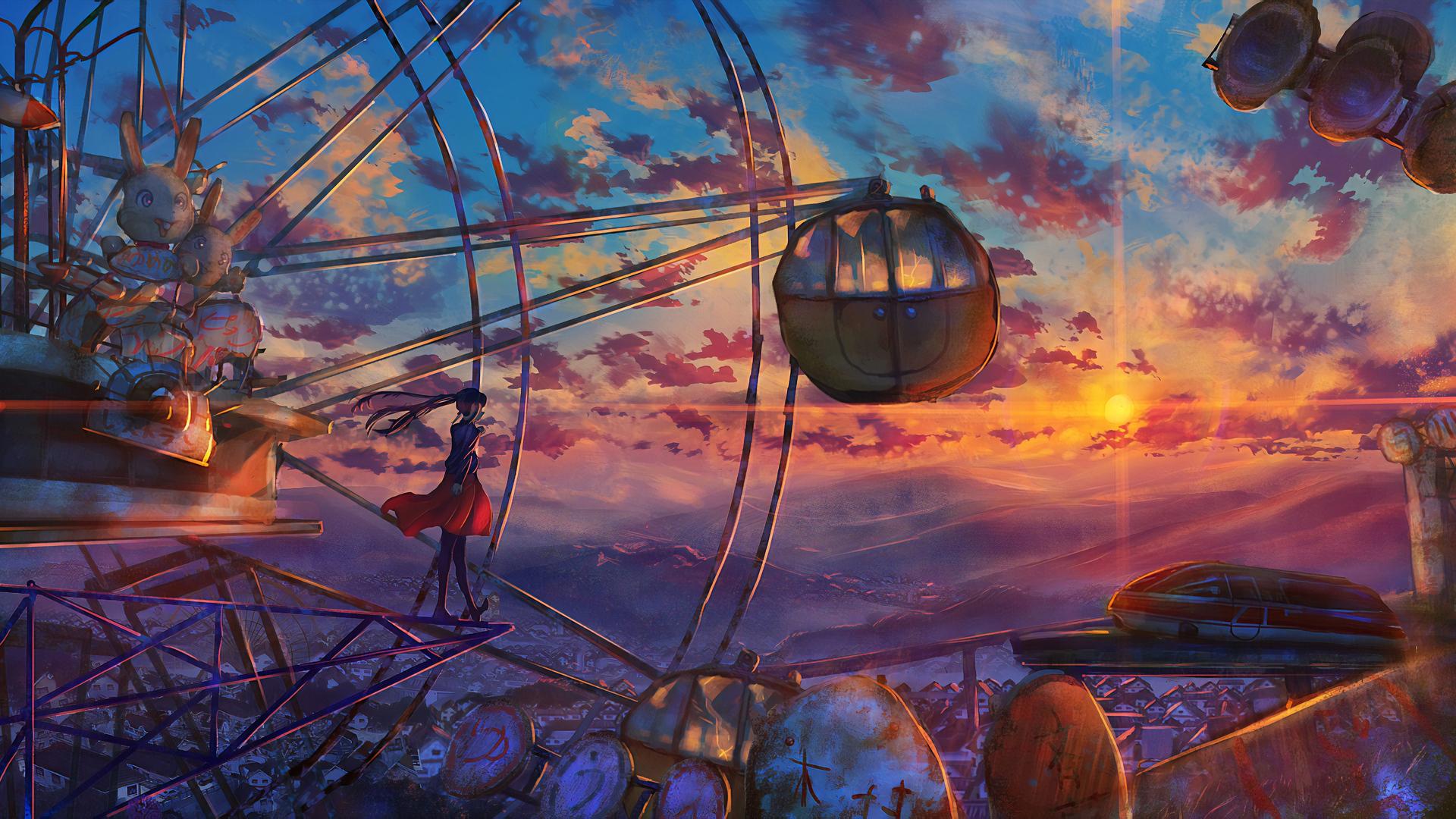 1920x1080 Anime Ferris Wheel Painting Laptop Full HD 1080P ...