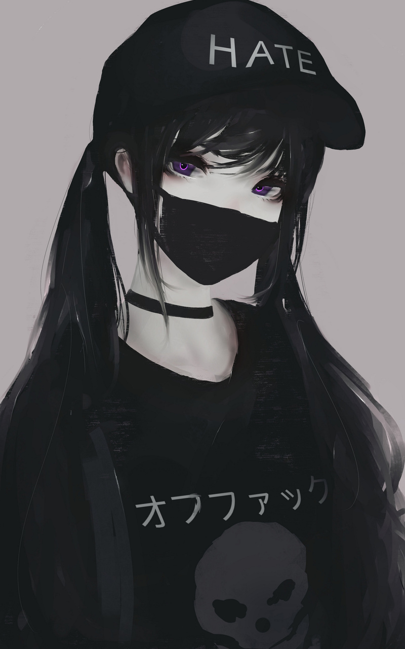800x1280 anime girl face mask purple eyes twintails hate - Anime wallpaper hoodie ...