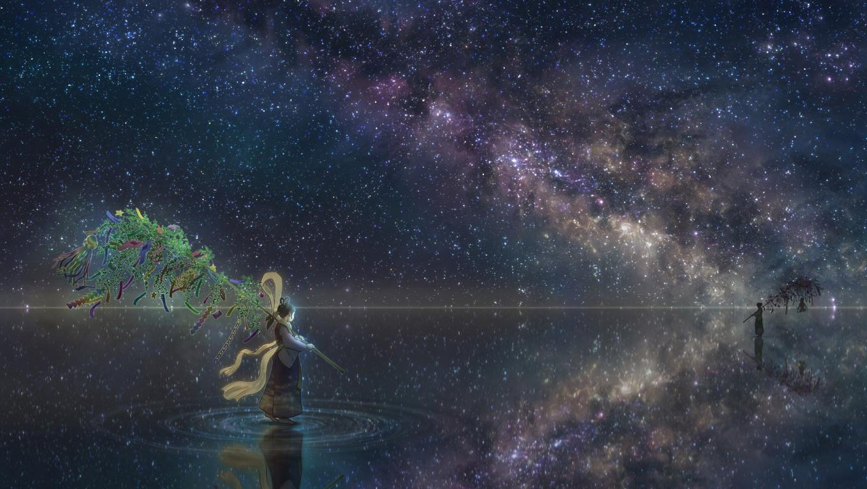1360x768 anime girl horizon night reflection stars laptop - Anime wallpaper 1360x768 hd ...