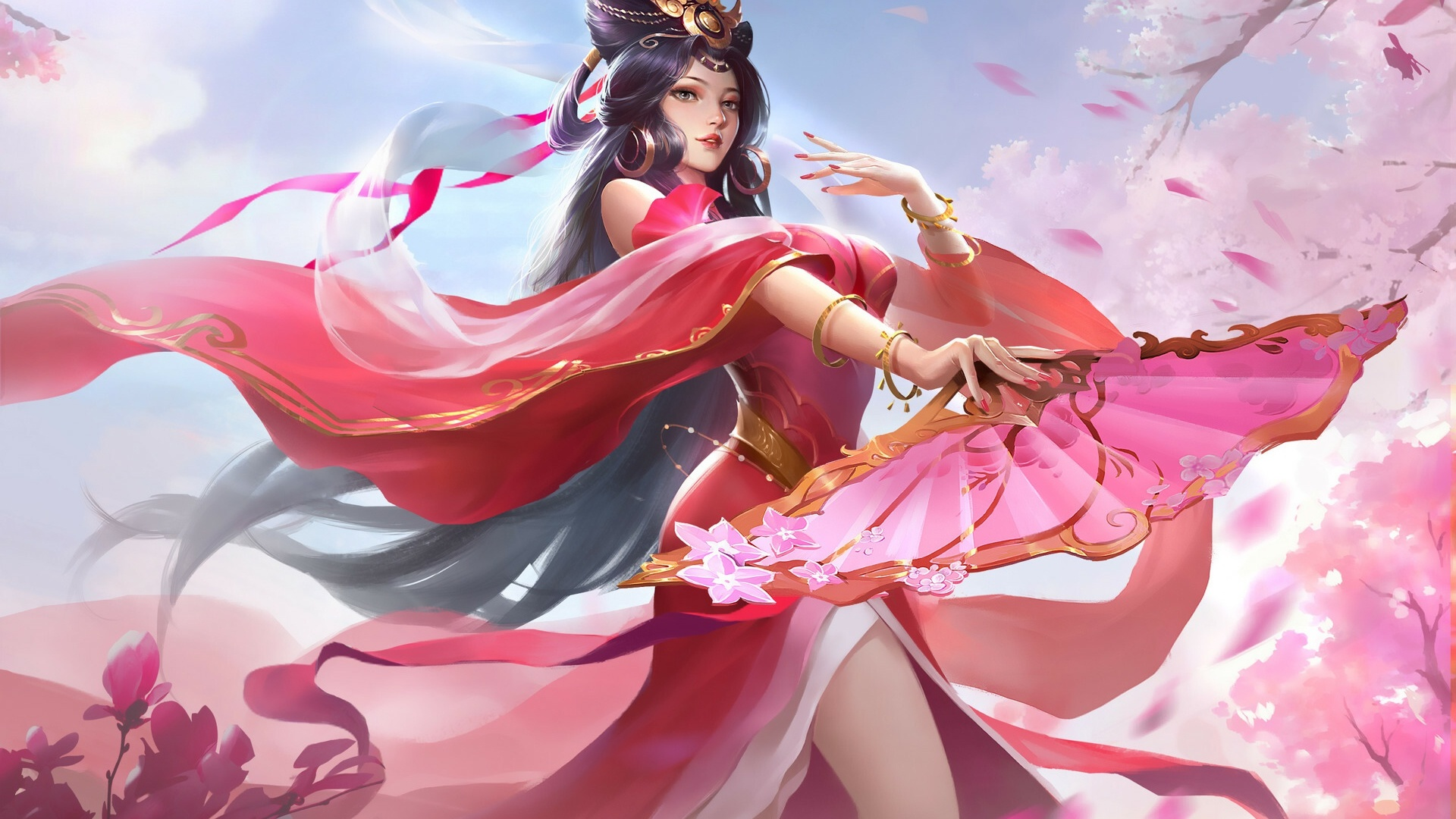 1920x1080 Anime Girl In Chinese Pink Dress Dancing Laptop ...