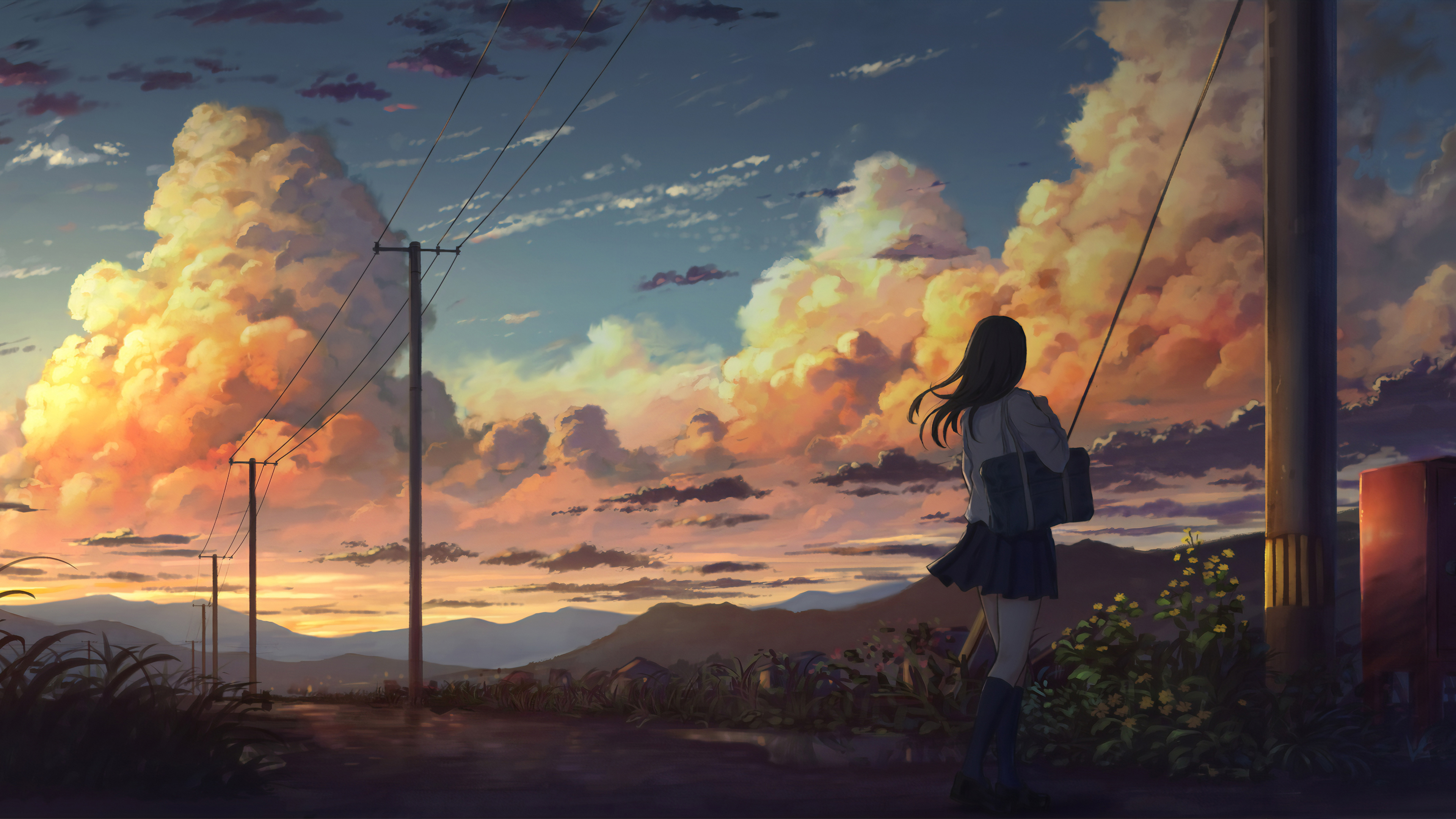 3840x2160 Anime Girl Outside Power Lines Clouds 4k 4k HD ...
