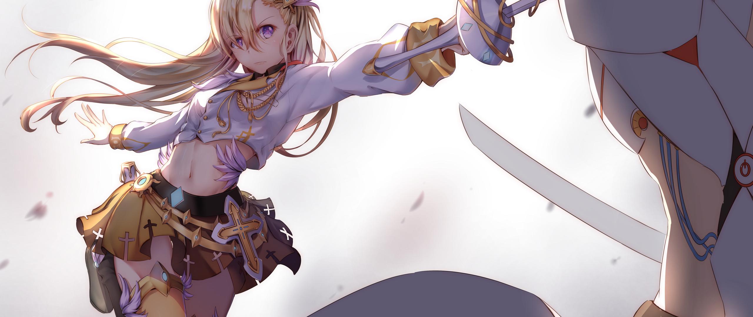 2560x1080 Anime Girl Sword Long Hair 4k 2560x1080 ...