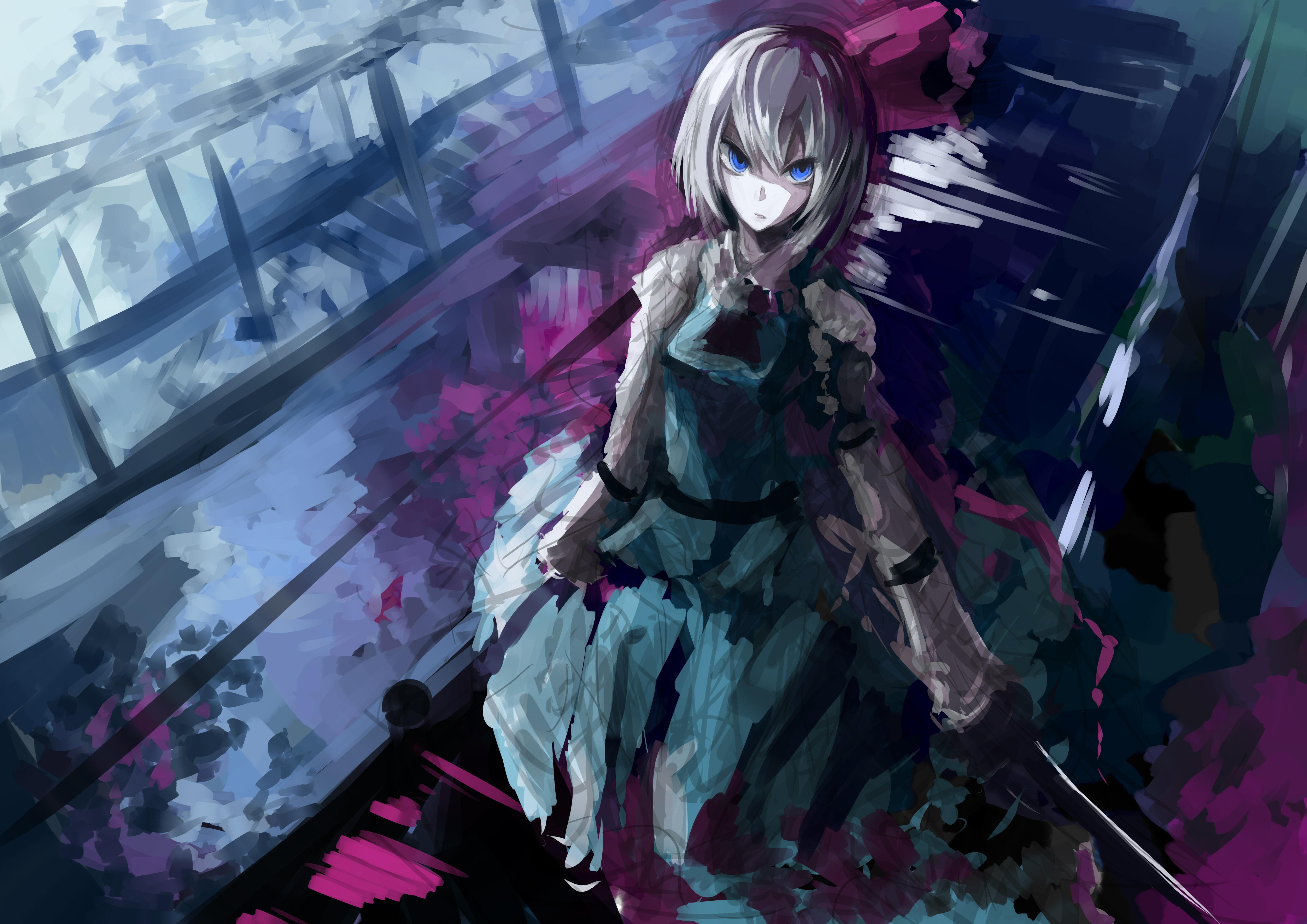 1360x768 anime girl white hair illustration laptop hd hd - Anime wallpaper 1360x768 hd ...