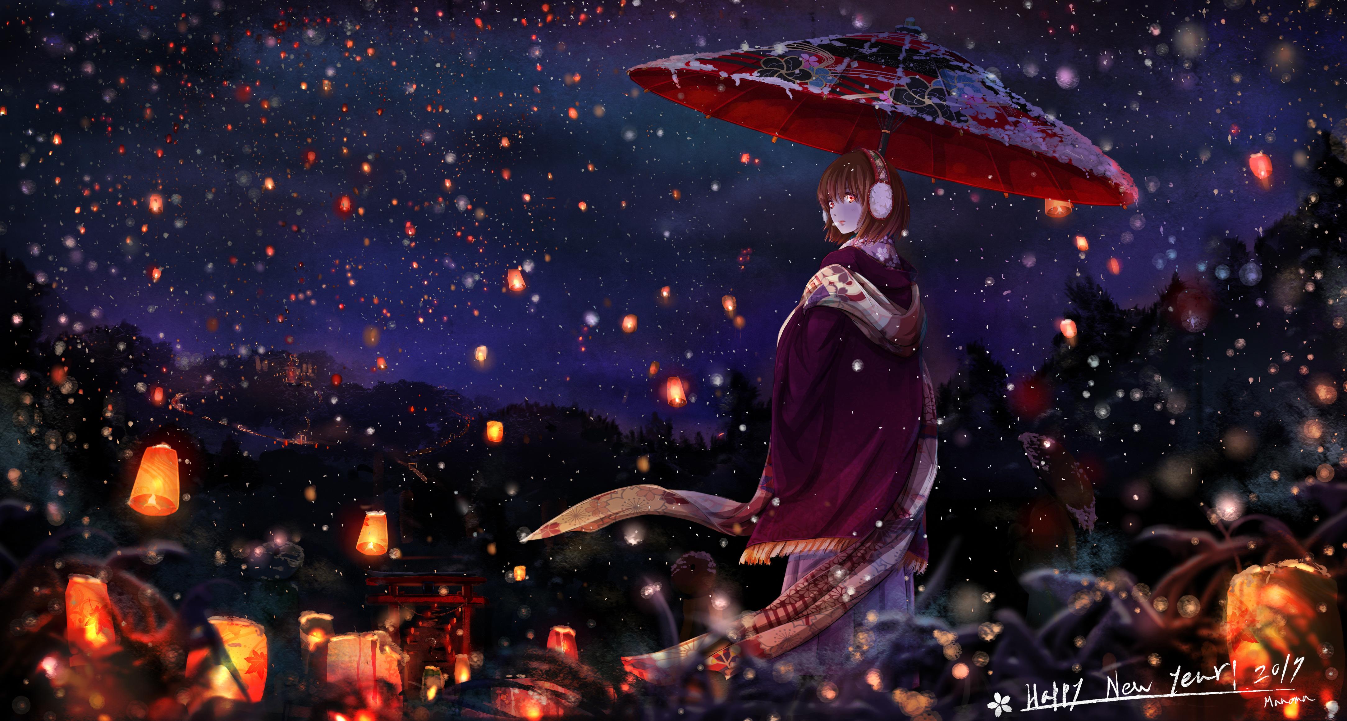 2048x2048 Anime Girl With Umbrella Ipad Air HD 4k ...