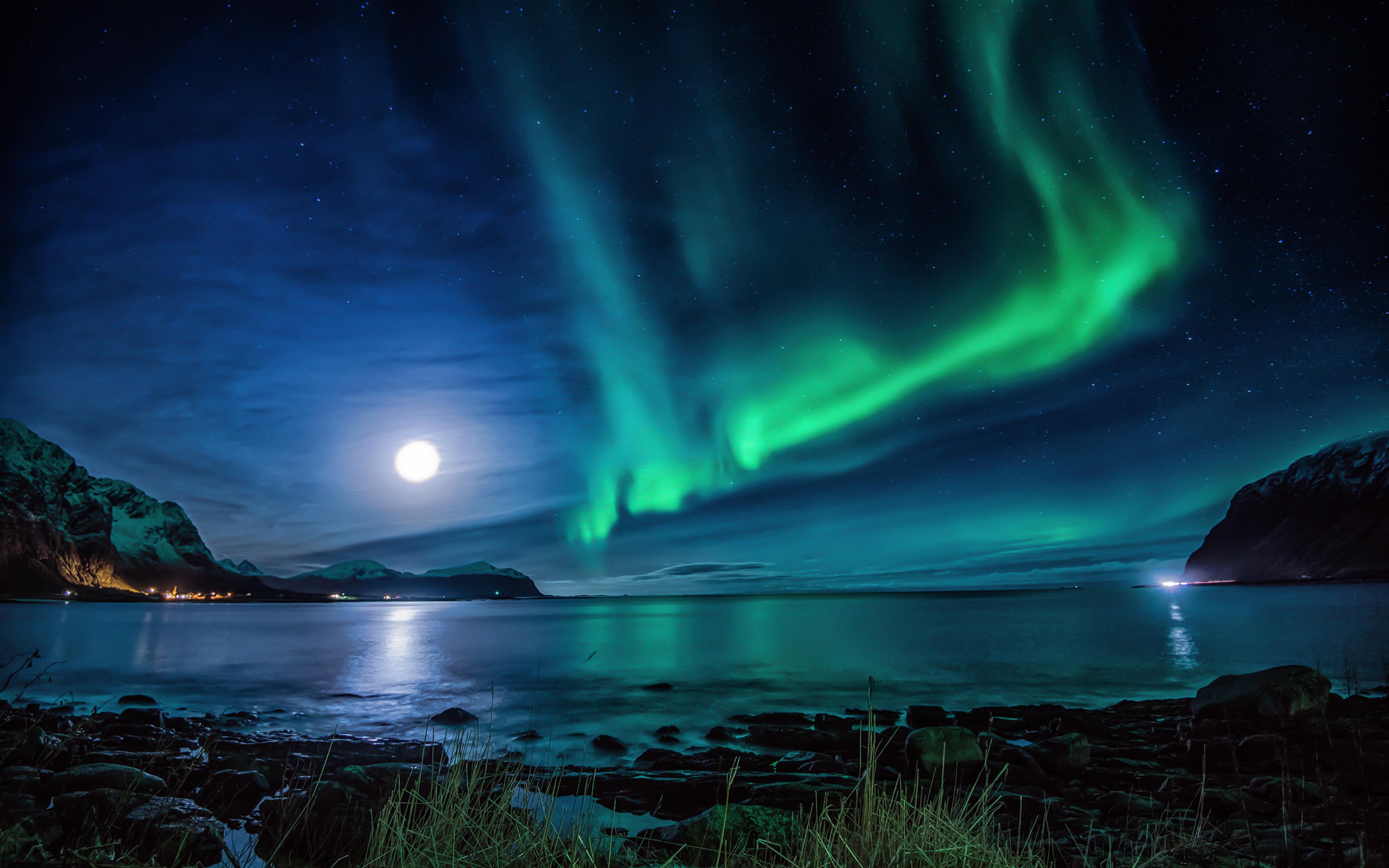 3840x2400 Aurora Borealis Moon Night 4k HD 4k Wallpapers ...