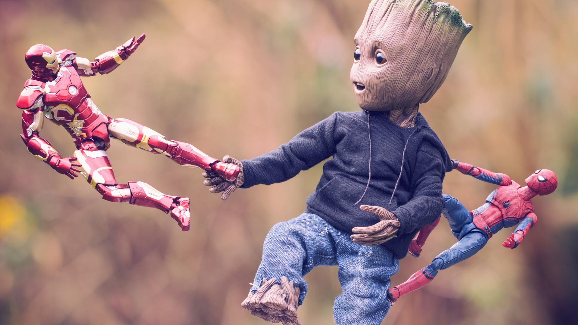 1920x1080 Baby Groot Iron Man And Spiderman Laptop Full HD