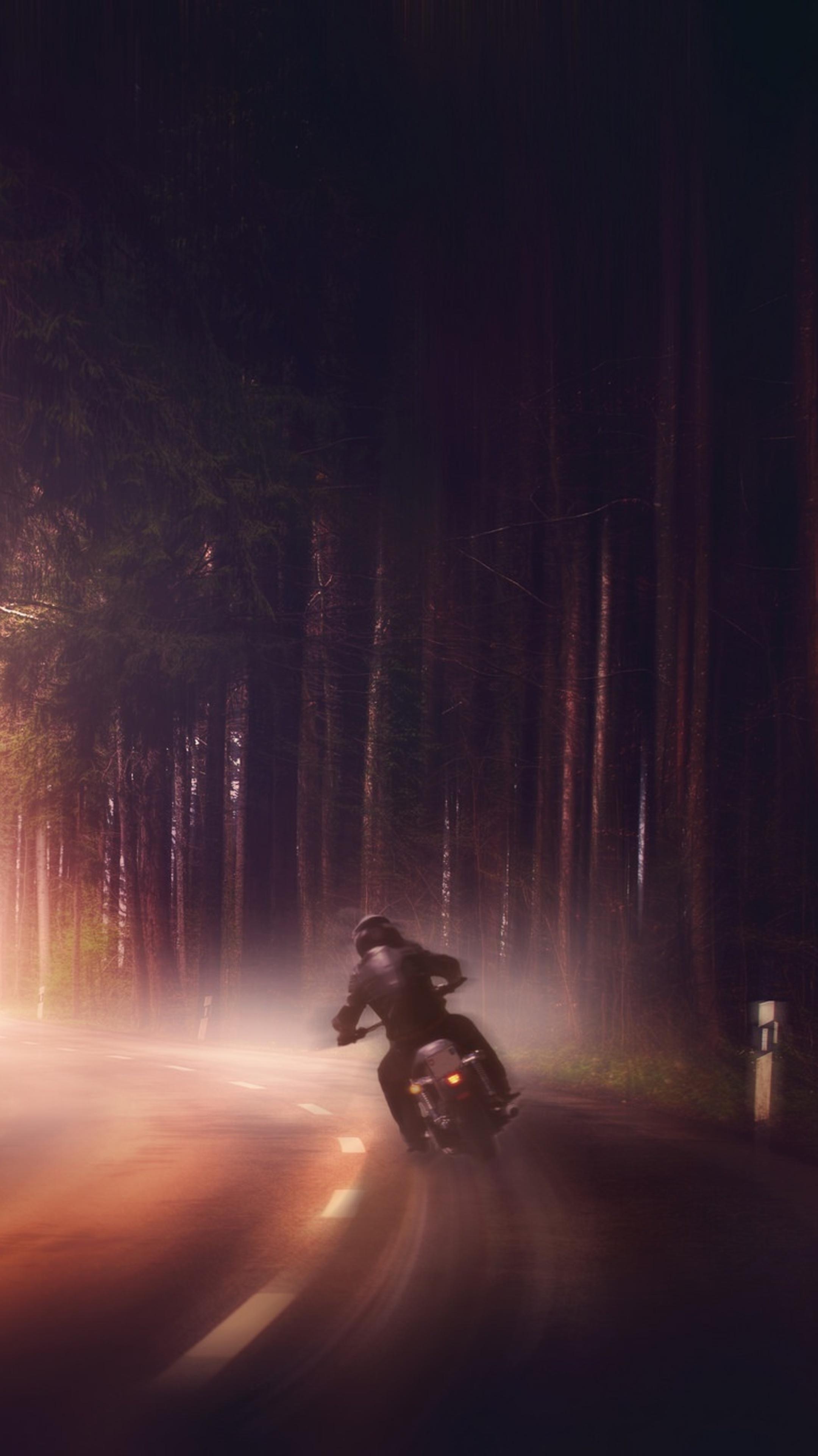 2160x3840 biker in woods dark road digital art sony xperia - Art wallpaper 2160x3840 ...