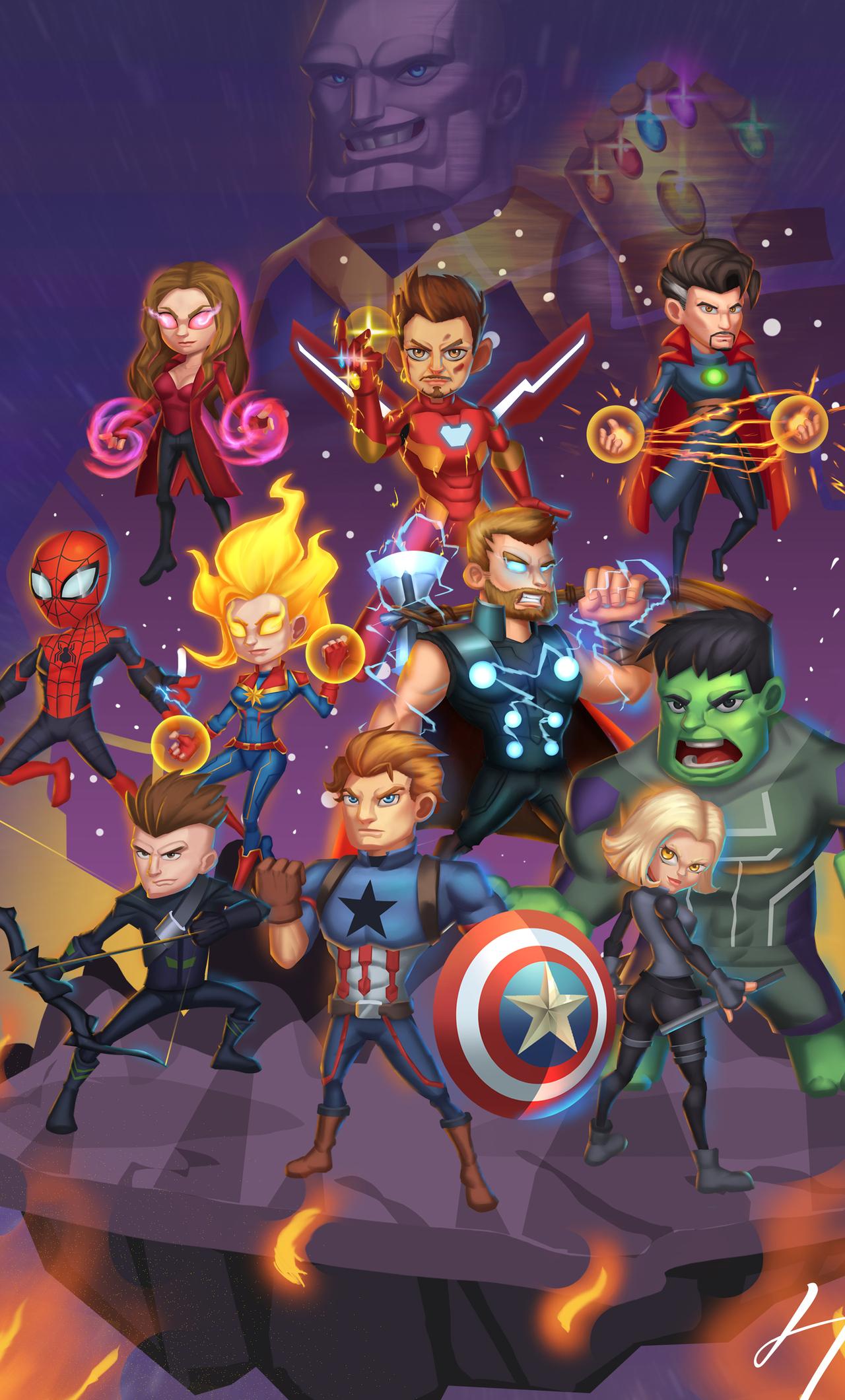 1280x2120 Chibi Avengers Endgame Art iPhone 6+ HD 4k ...
