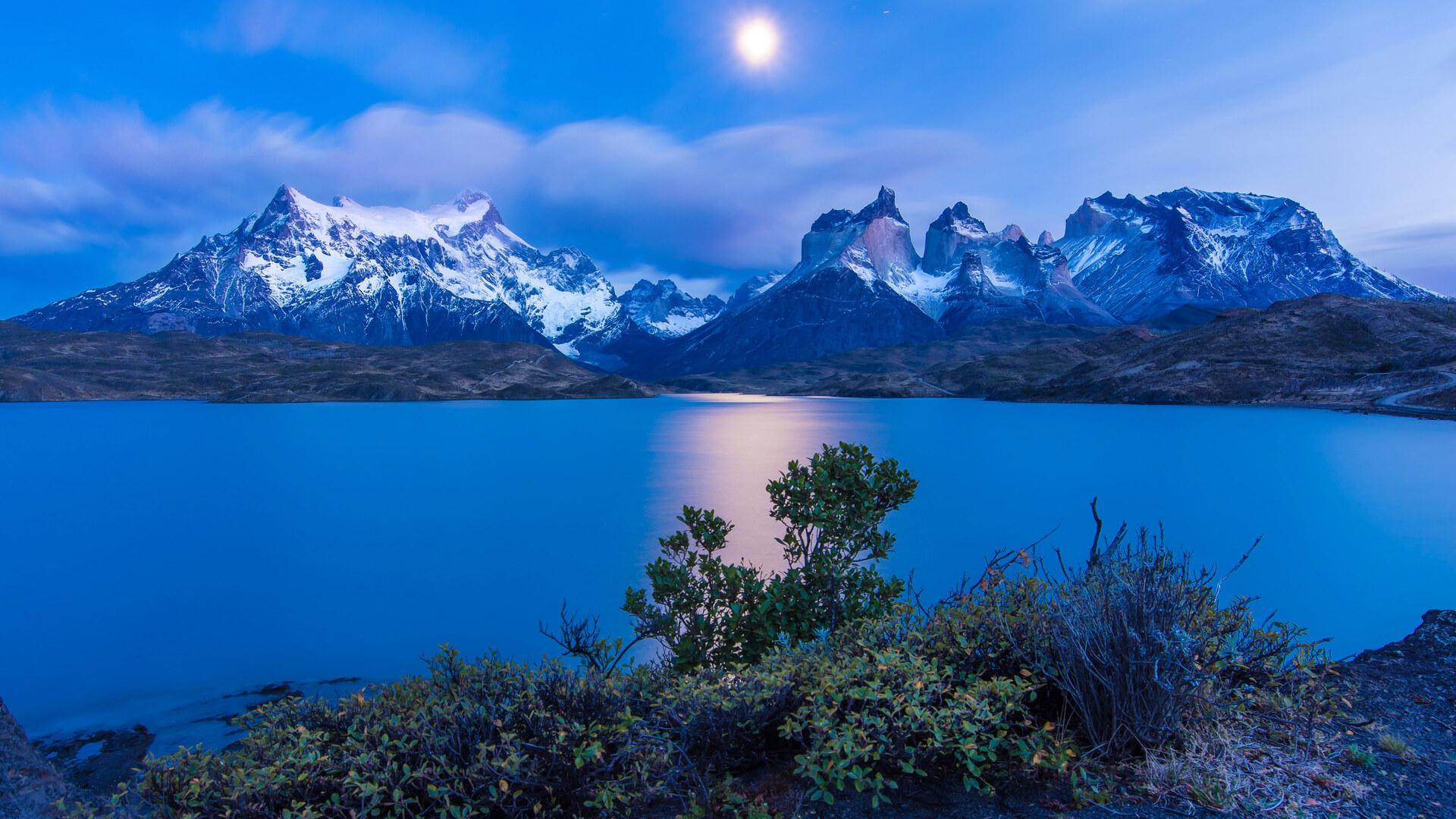1920x1080 Chile Earth Lake Landscape Moon Night Twilight ...