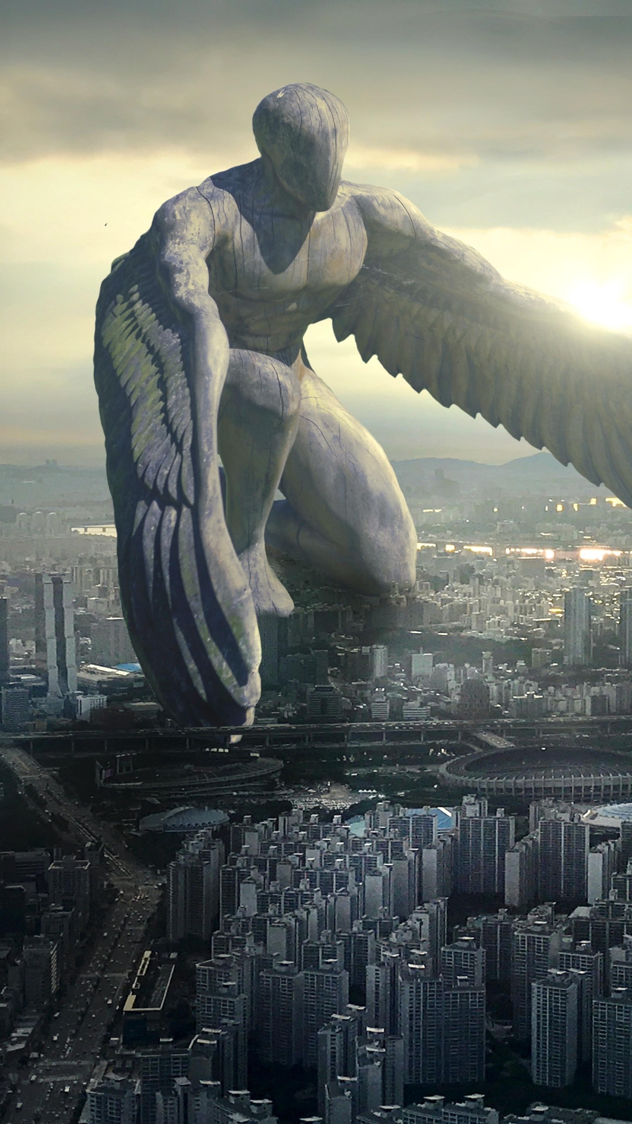 2160x3840 City Giant Angel Fantasy 5k Sony Xperia X,XZ,Z5 ...