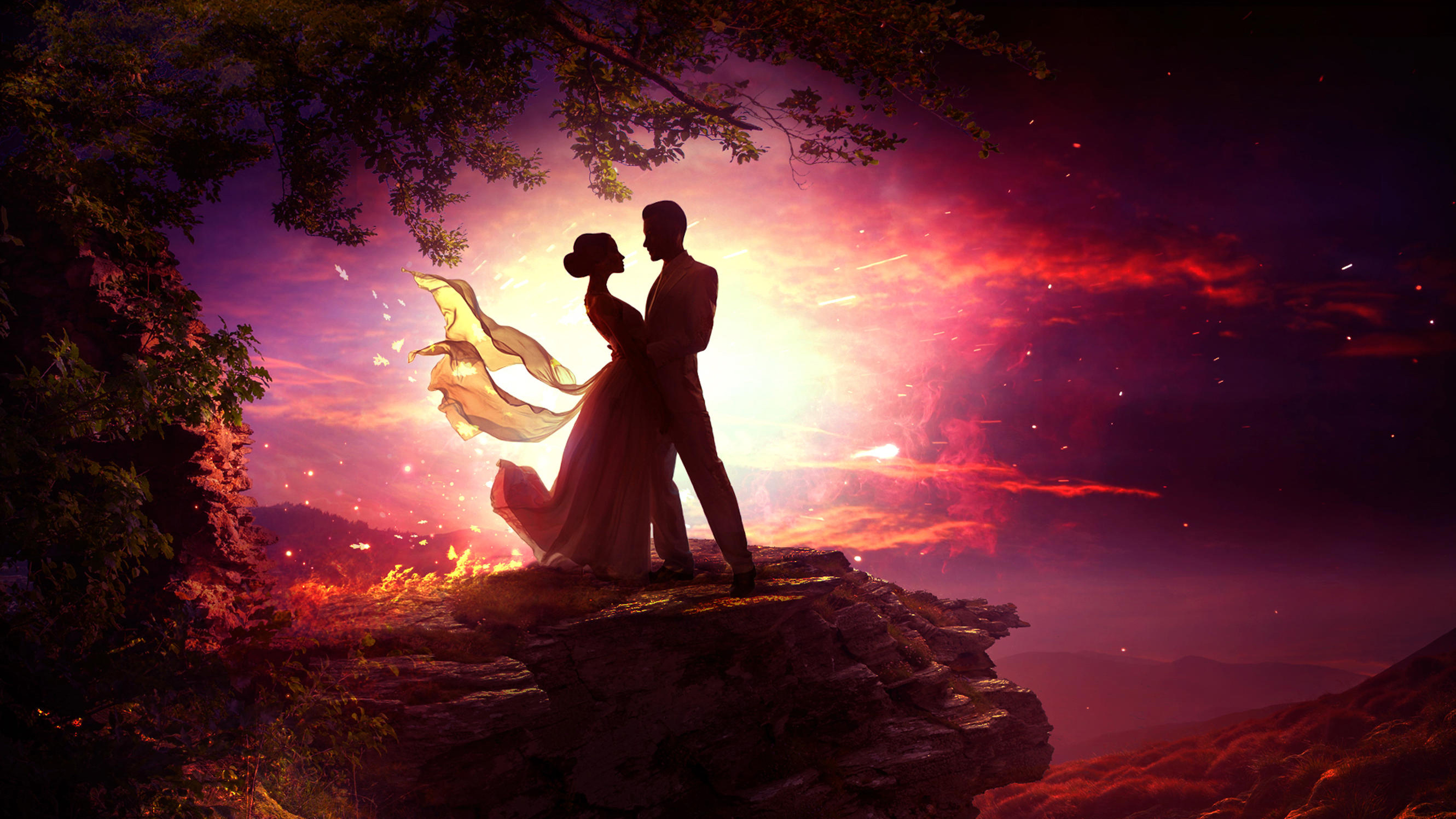 1440x2960 Dancing Couple In Moonlight Samsung Galaxy Note ...