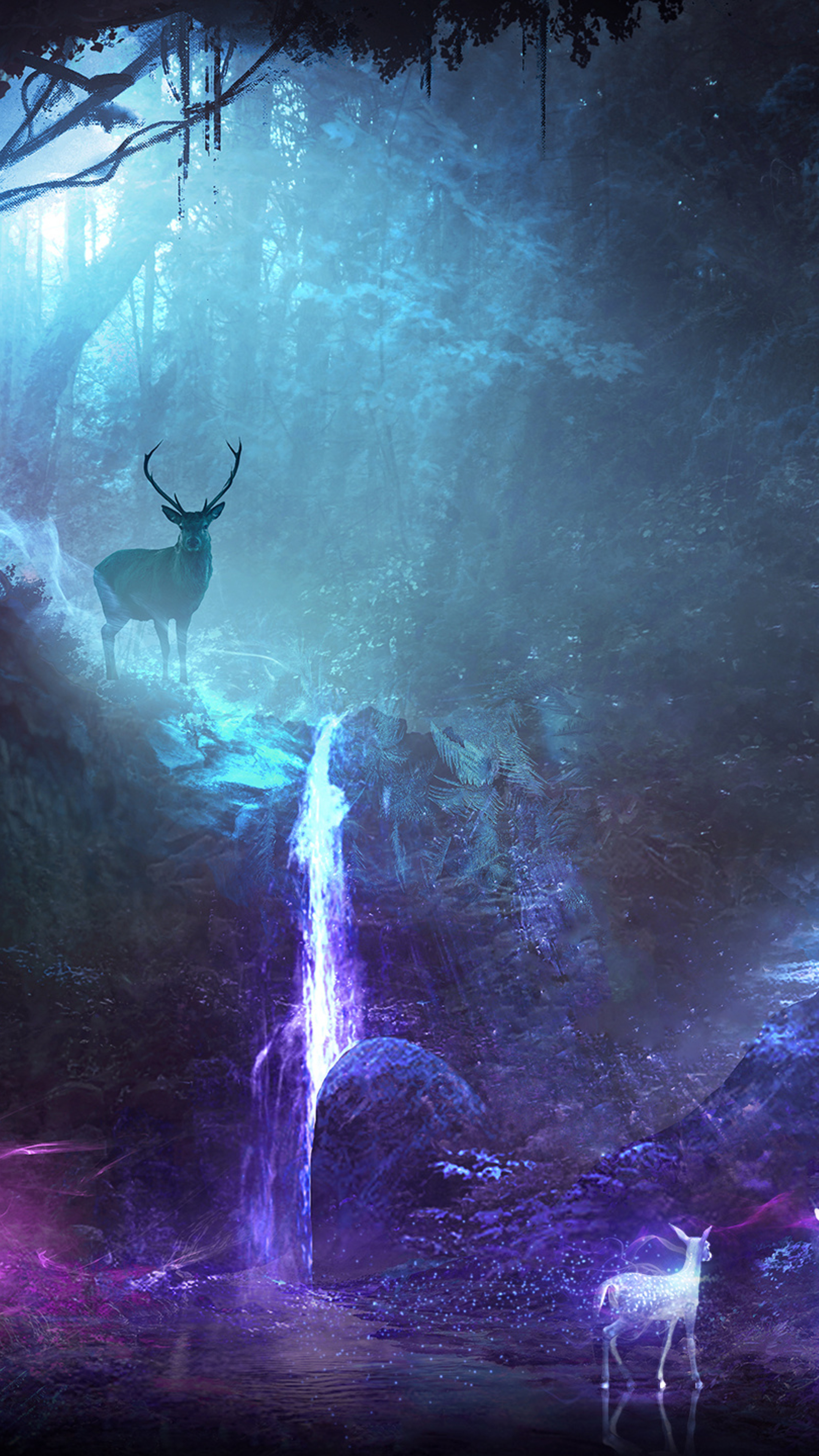 2160x3840 deer animal night fantasy waterfall sony xperia x xz z5 premium hd 4k wallpapers - Hunting wallpaper for android ...