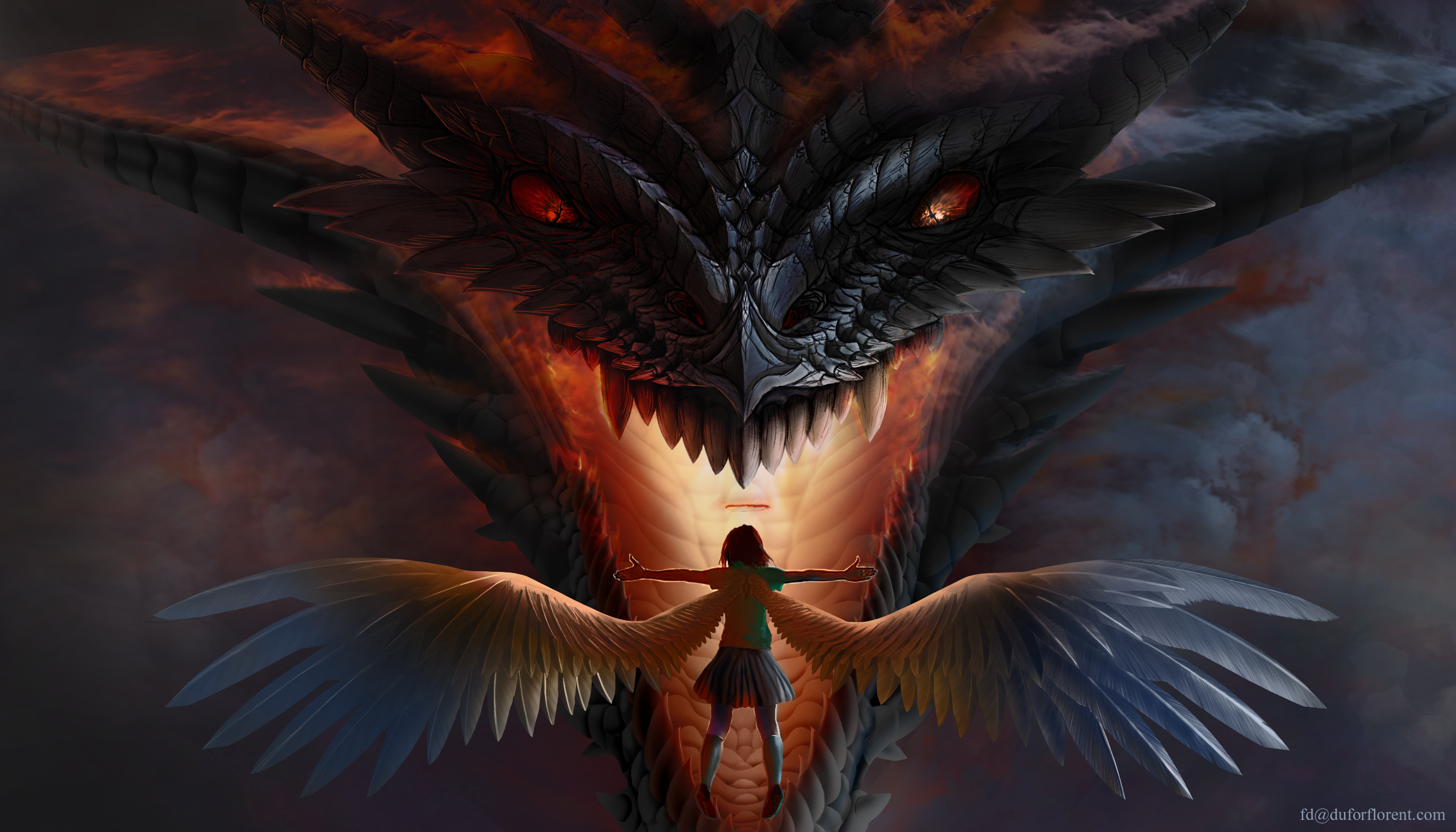 1280x720 dragon vs angel 720p hd 4k wallpapers images - Fantasy wallpaper 720p ...