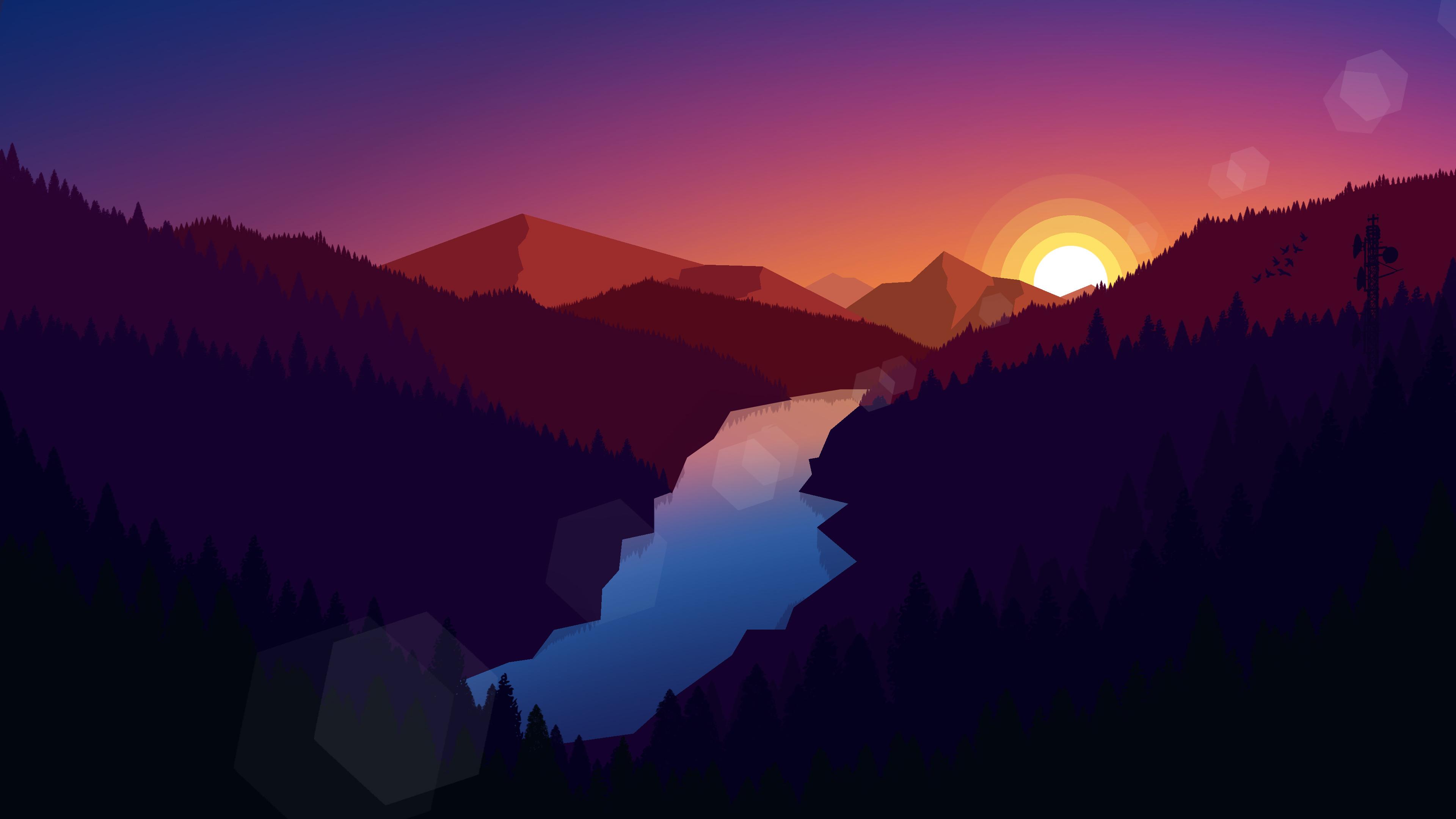 3840x2160 Forest Dark Evening Sunset Last Light ...