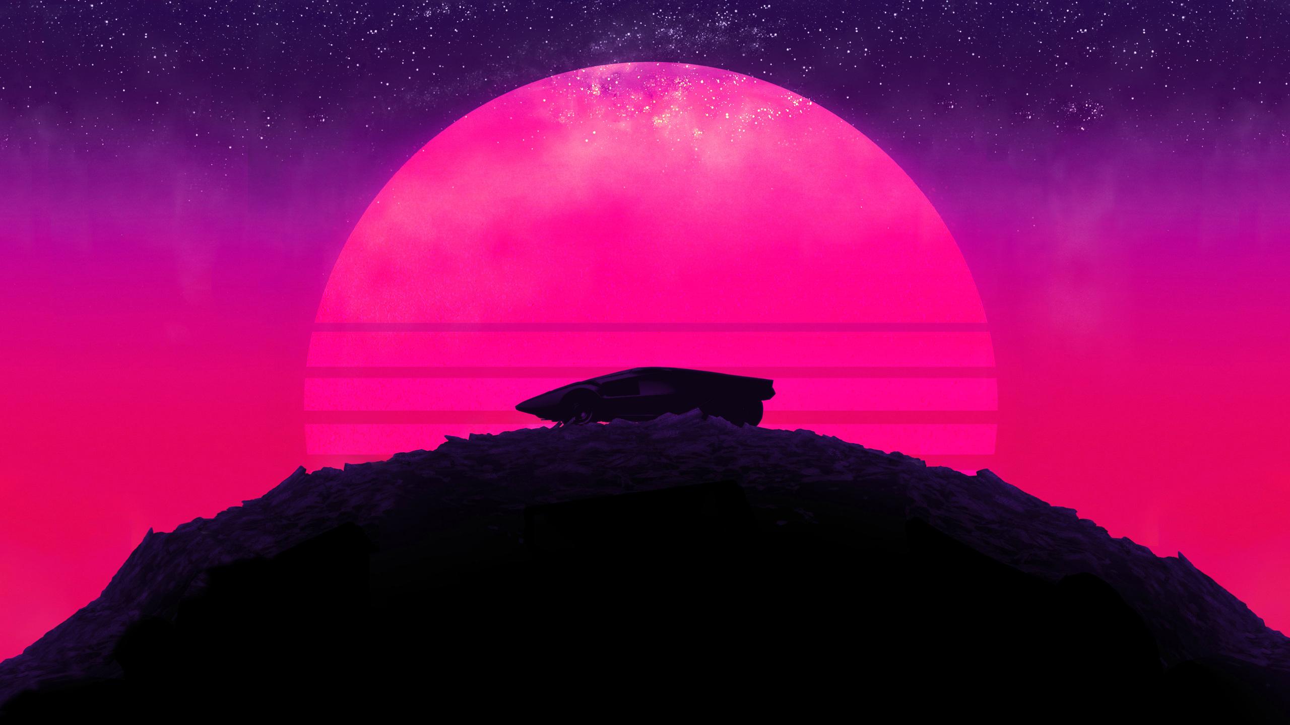 2560x1440 Future Sports Car Neon Sunset Background 4k ...