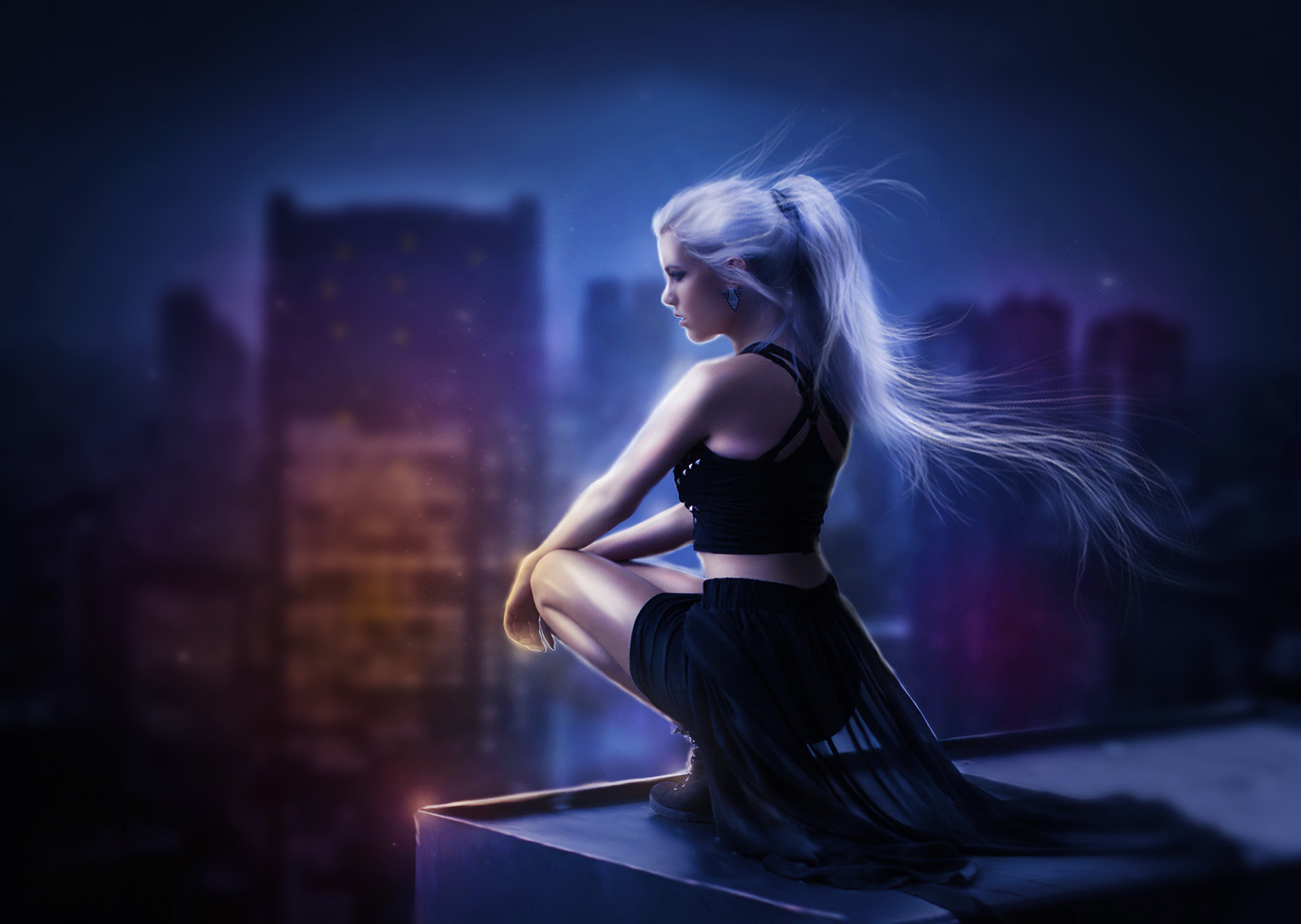 3840x2400 Girl On Roof Of Building 4k HD 4k Wallpapers ...