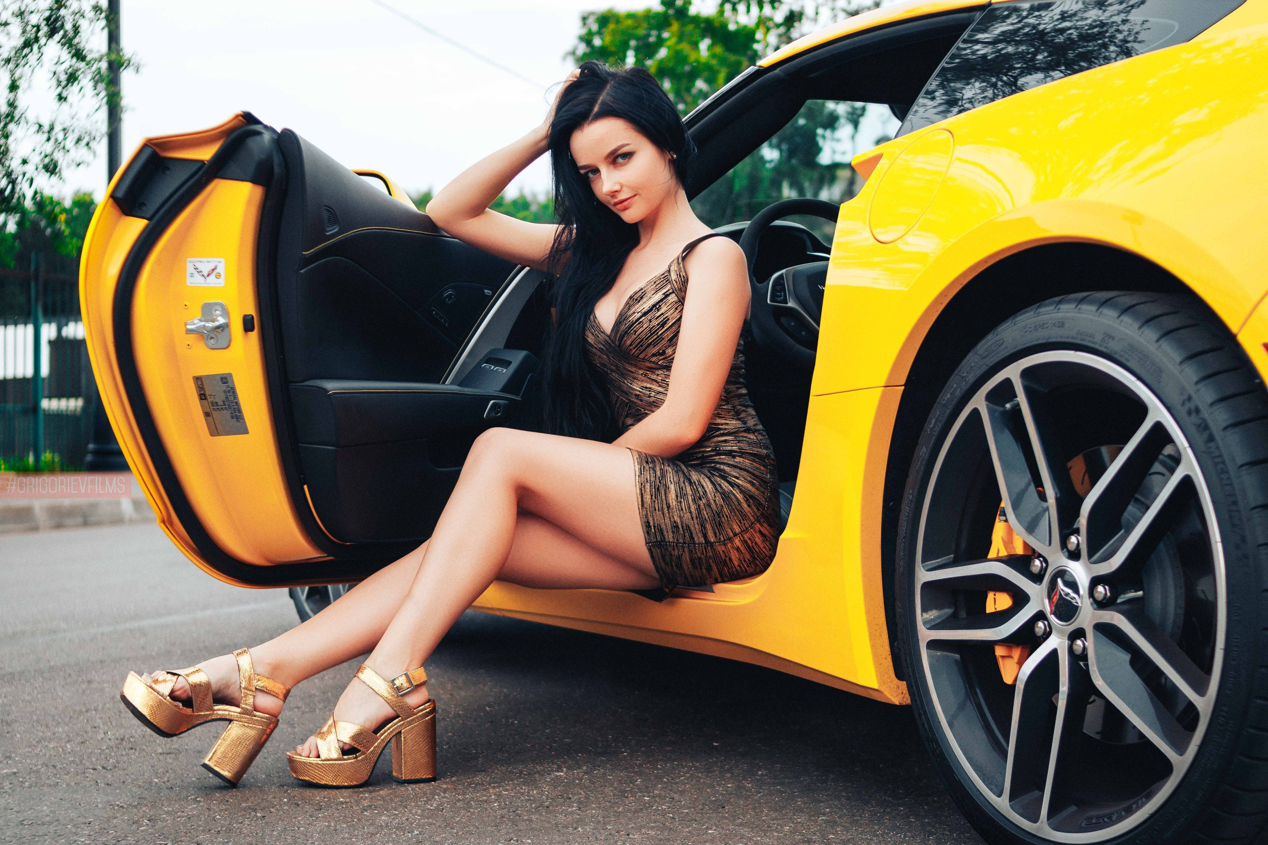 Sport Car Wallpaper With Girl: Gorgeous Girl Sitting In Sport Car, HD Girls, 4k