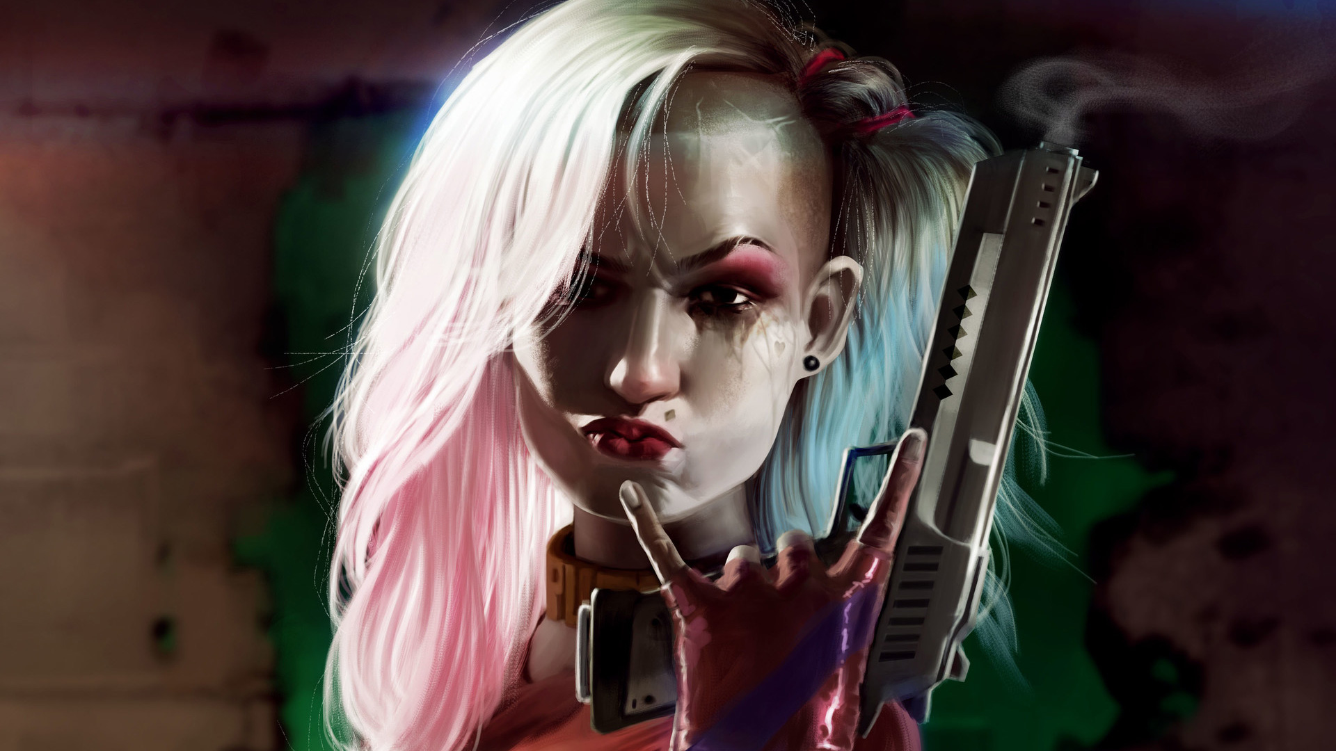 Harley Quinn Cool Gun Art, HD Superheroes, 4k Wallpapers