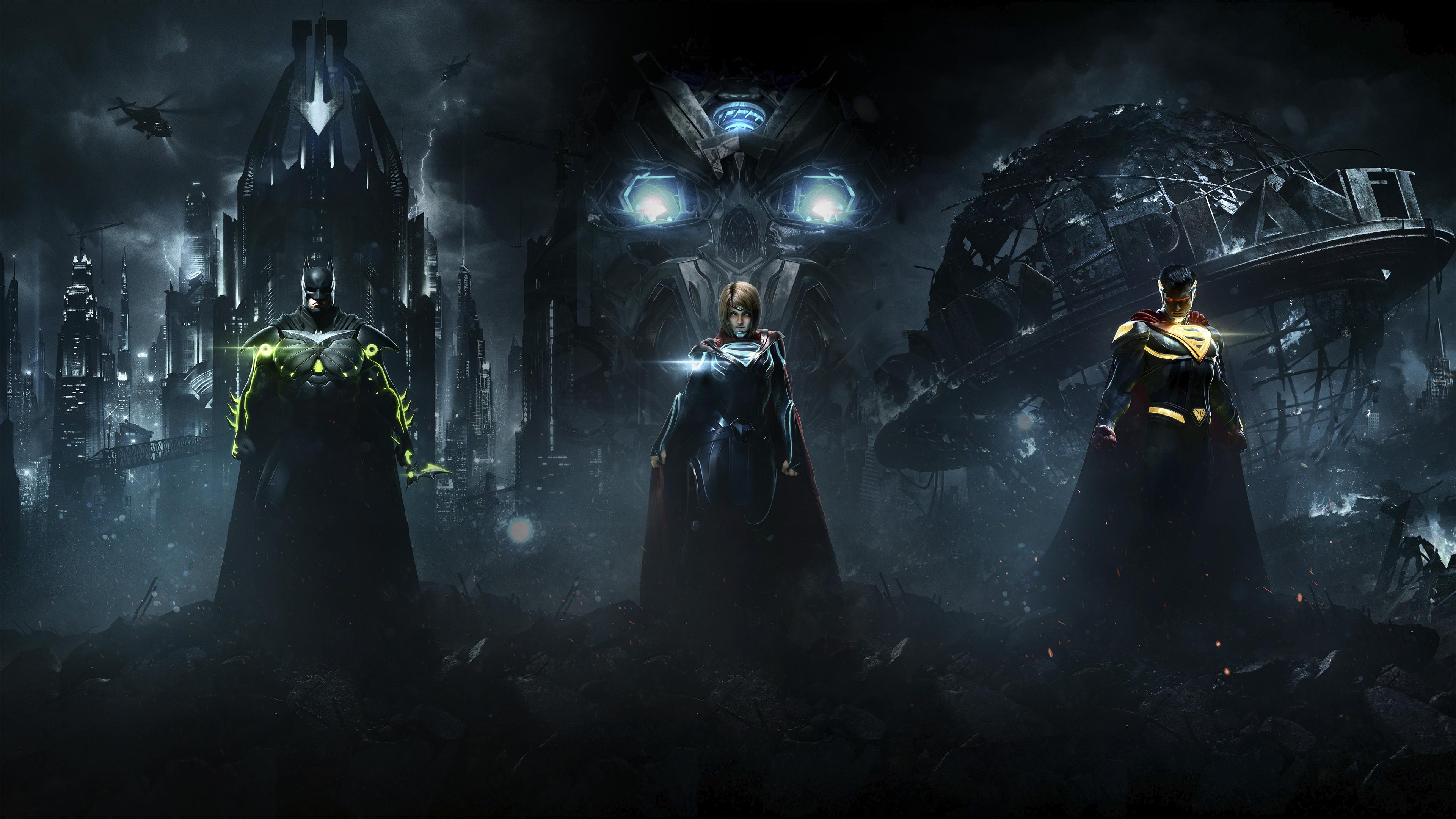 Injustice batman wallpaper hd olivero injustice 2 superman supergirl batman combine 4k hd games voltagebd Choice Image
