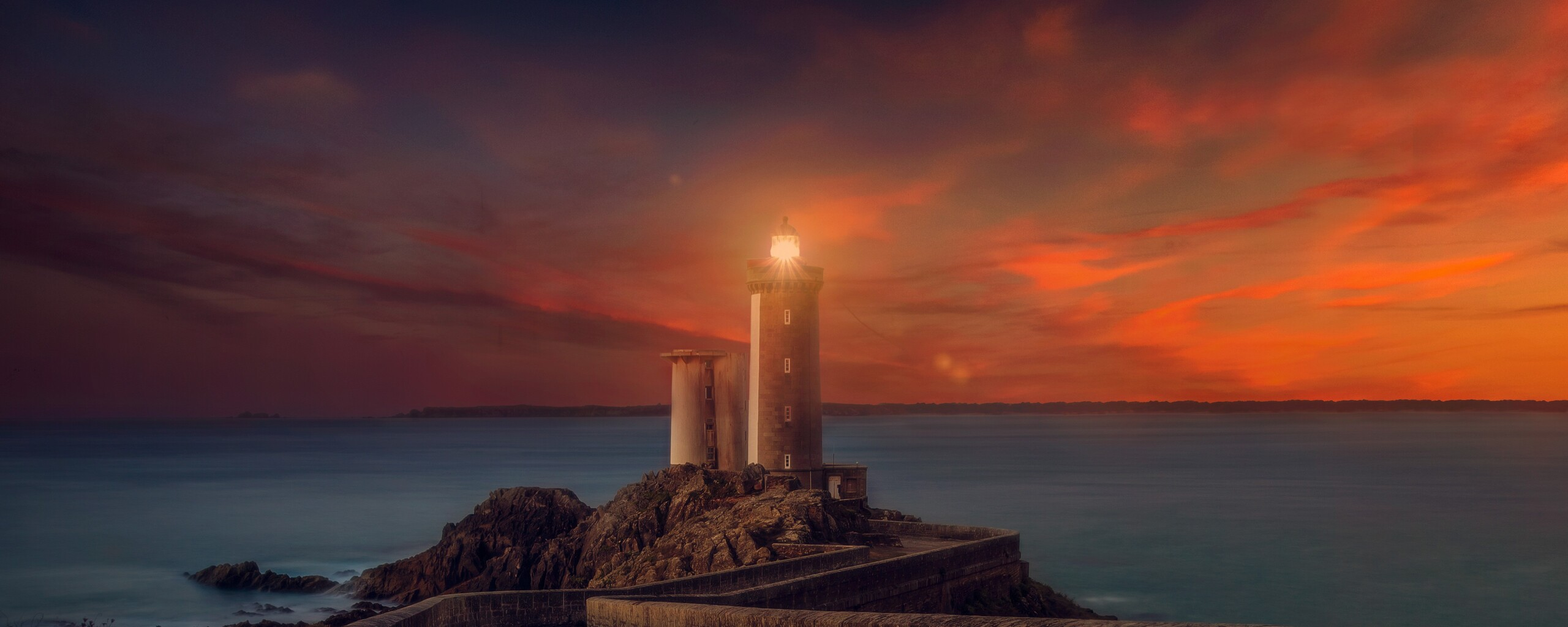 2560x1024 Lighthouse Sunset Scene 2560x1024 Resolution HD