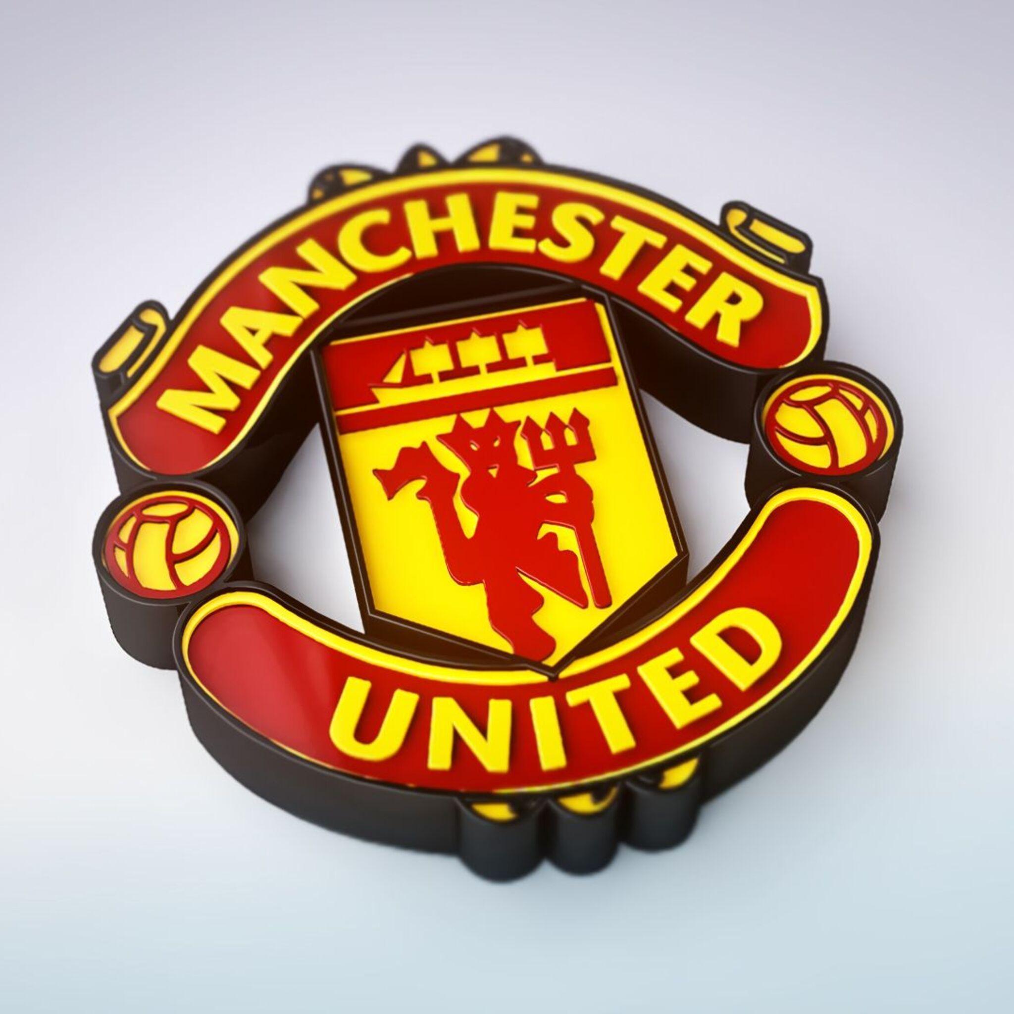 2048x2048 Manchester United 3D Logo Ipad Air HD 4k ... United Ilocandia Logo
