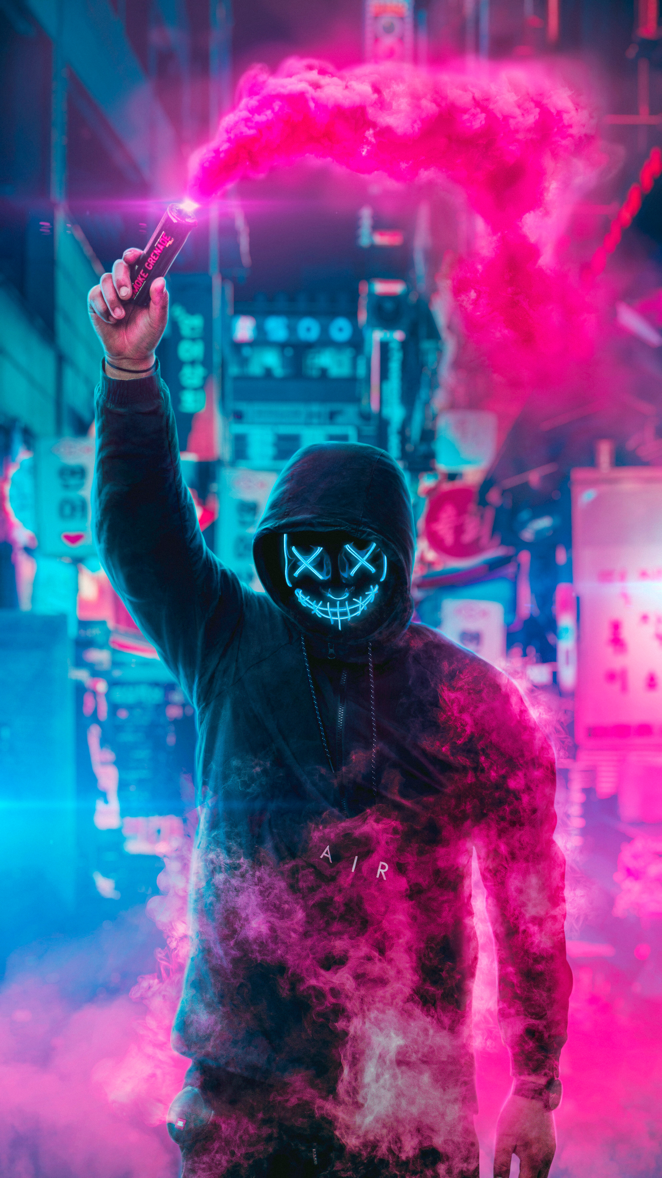 2160x3840 Mask Guy Neon Eye Sony Xperia X Xz Z5 Premium Hd 4k Wallpapers Images Backgrounds