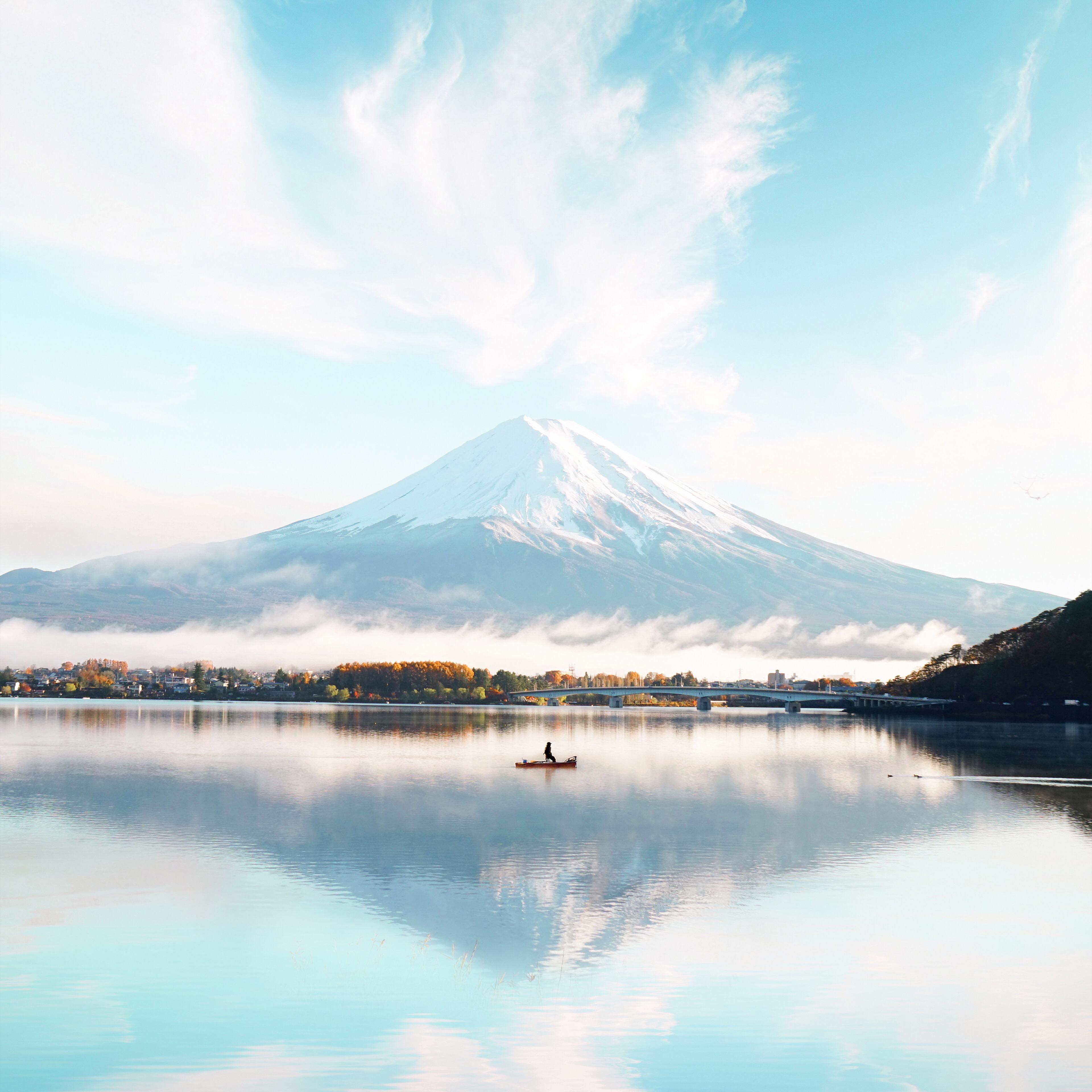 4k Resolution Wallpaper: 2560x1080 Mount Fuji Blue Bright Day 4k 2560x1080