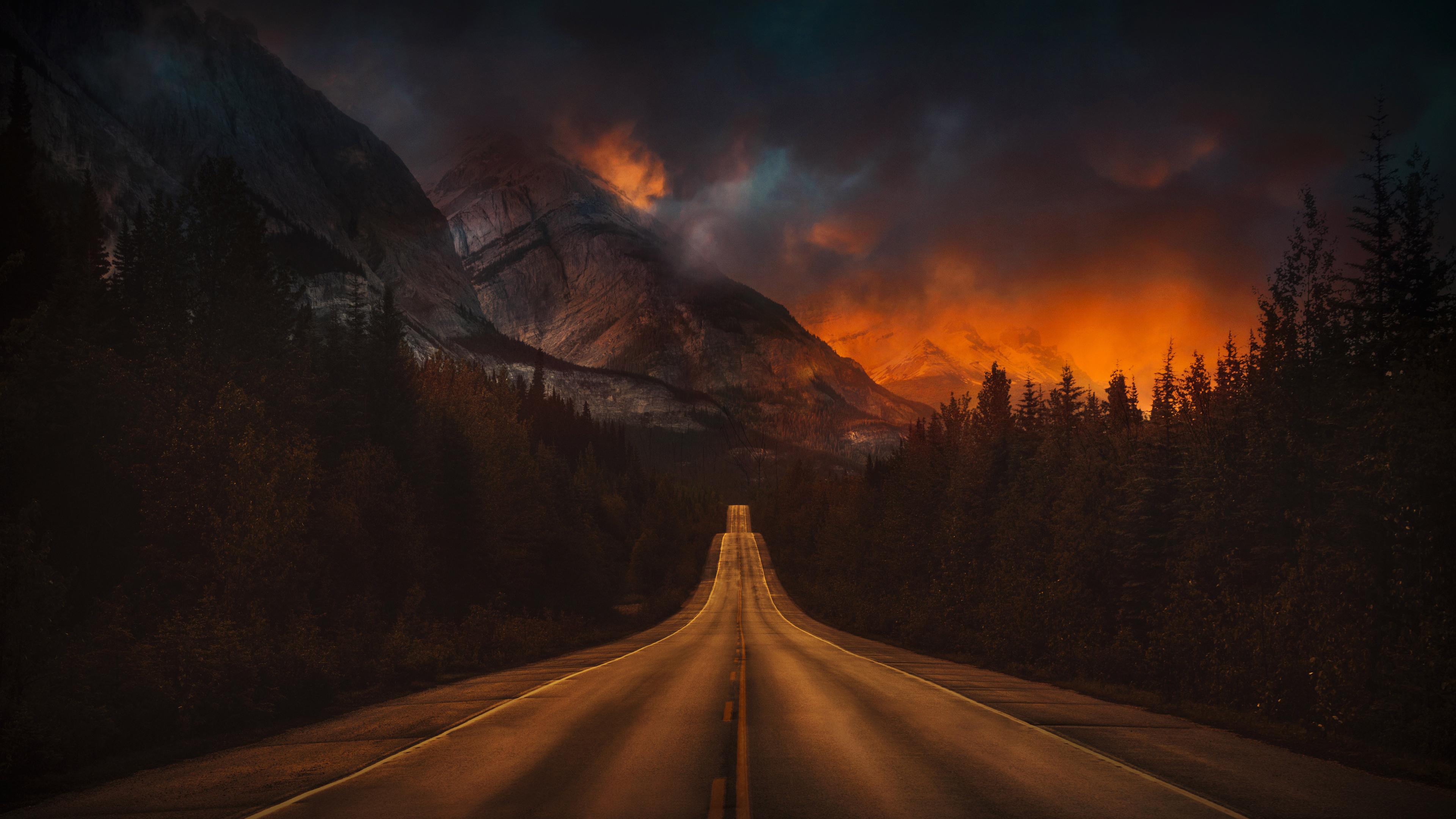 3840x2160 mountain nature night road 4k 4k hd 4k - Night mountain wallpaper 4k ...