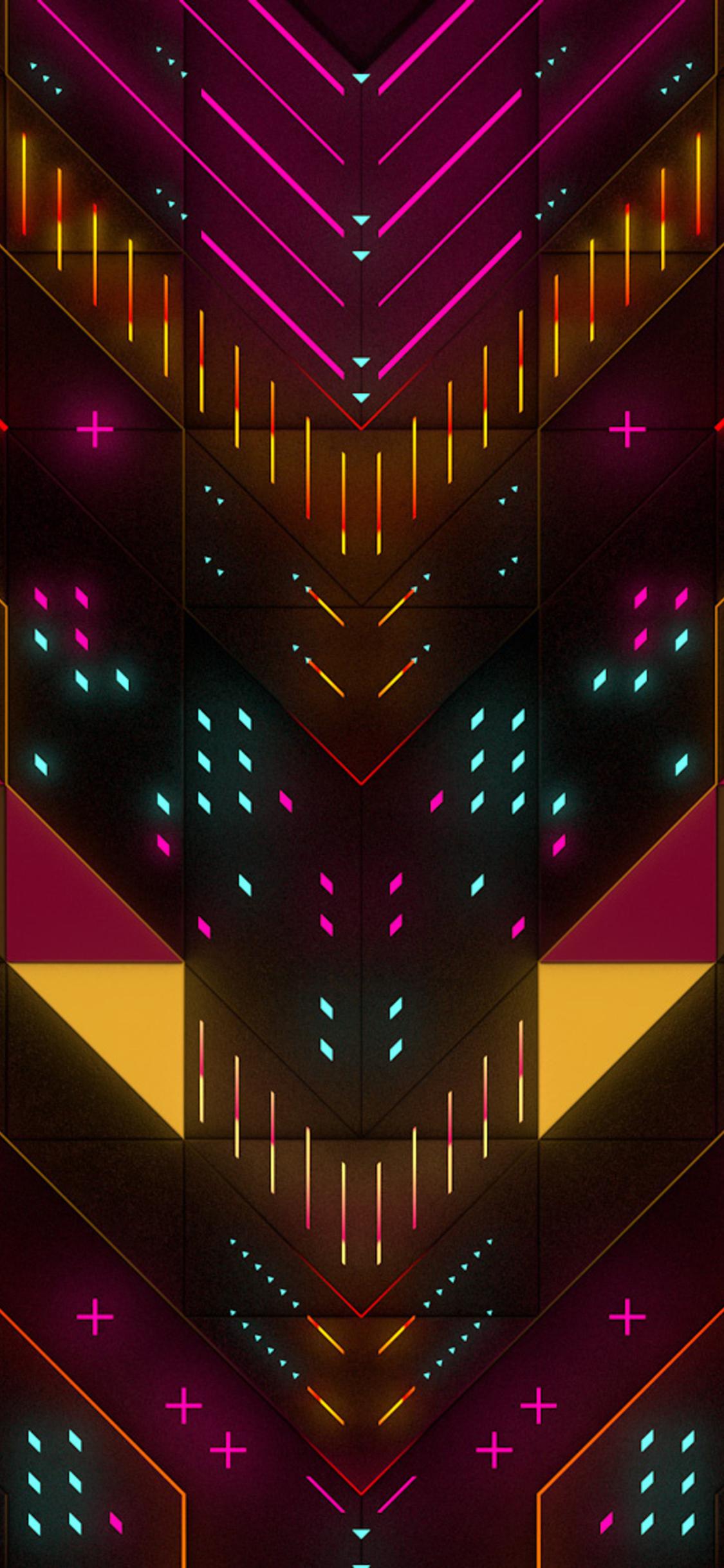 1125x2436 Neon Abstract Geometry Digital Art Iphone XS ...