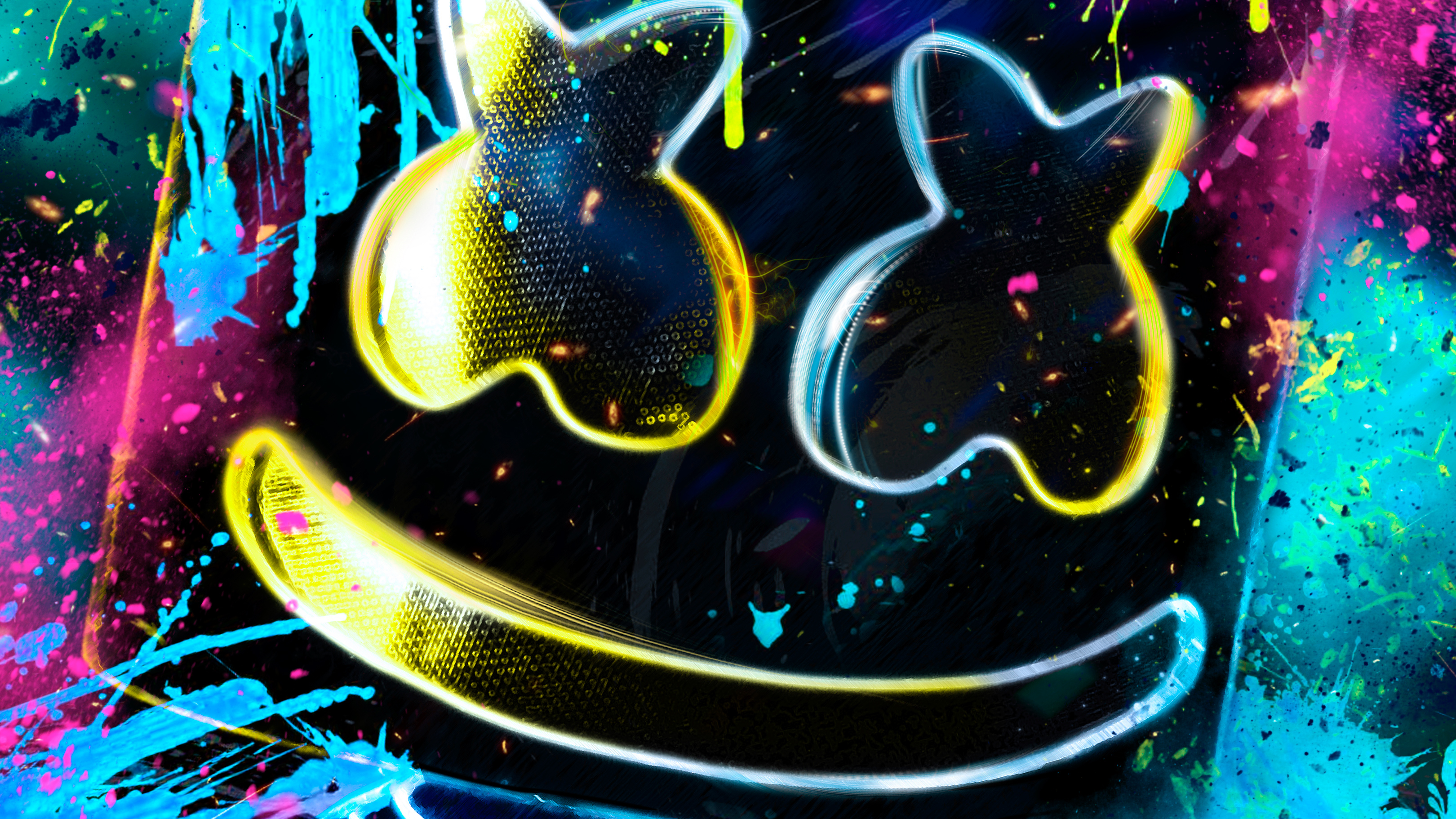 Neon Marshmello, HD Music, 4k Wallpapers, Images ...