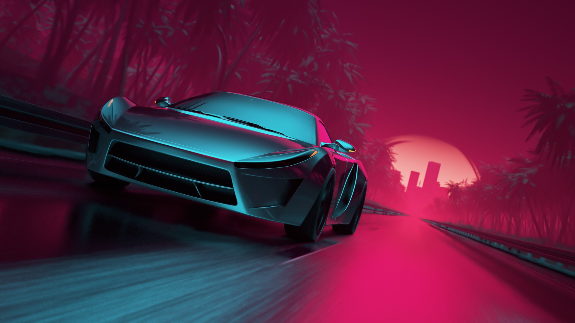 Sport Wallpaper For Iphone 7: 1080x1920 Neon Synthwave Sport Car Iphone 7,6s,6 Plus