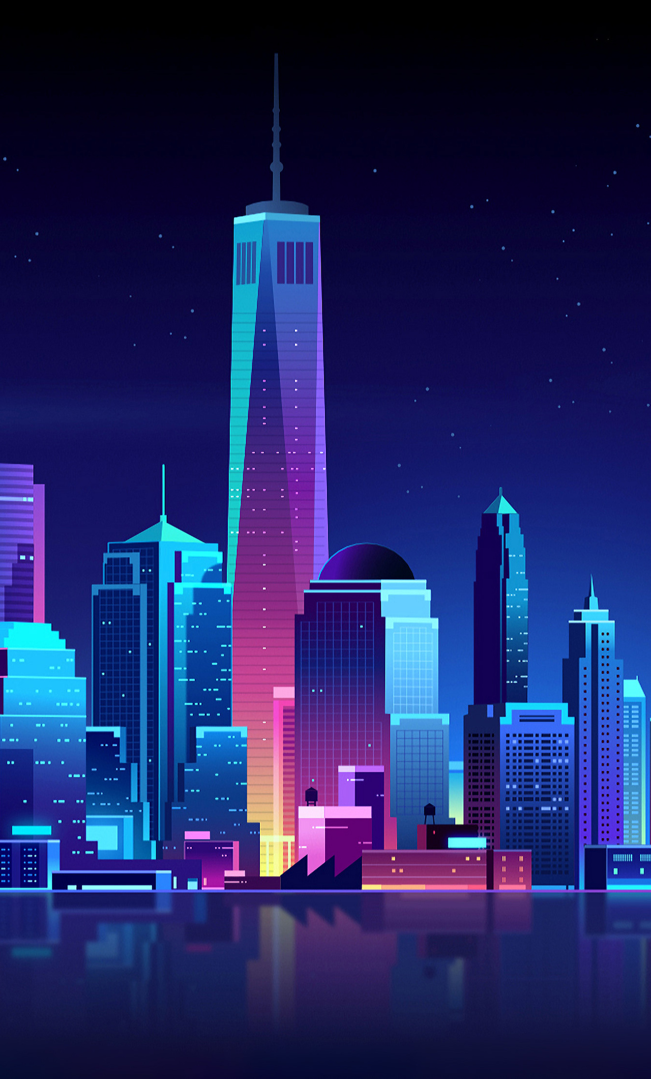 1280x2120 New York Buildings City Night Minimalism iPhone ...