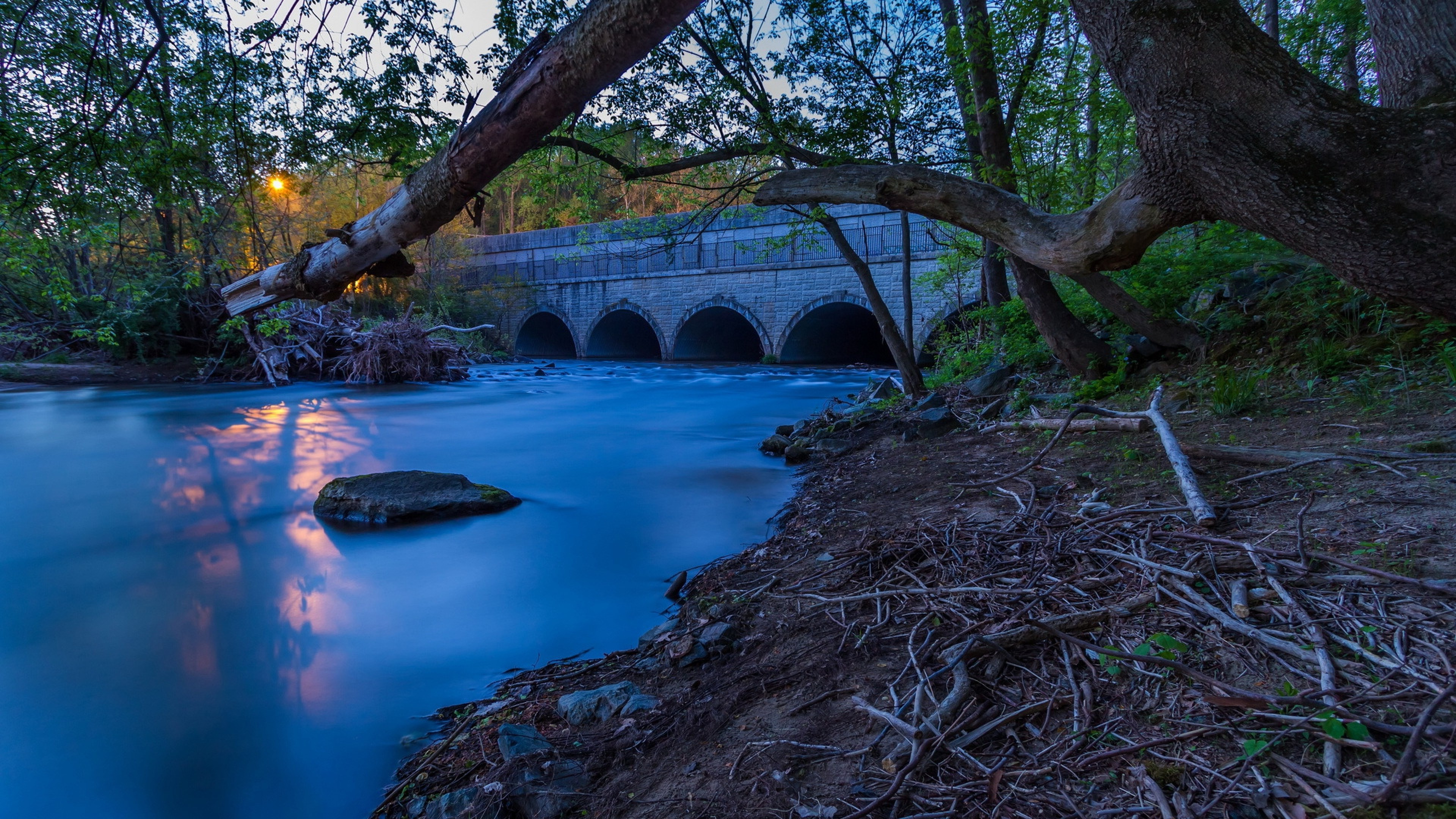 Download Wallpaper 1920x1080 River Sunset Bridge: Park River Bridge Sunset, HD Nature, 4k Wallpapers, Images