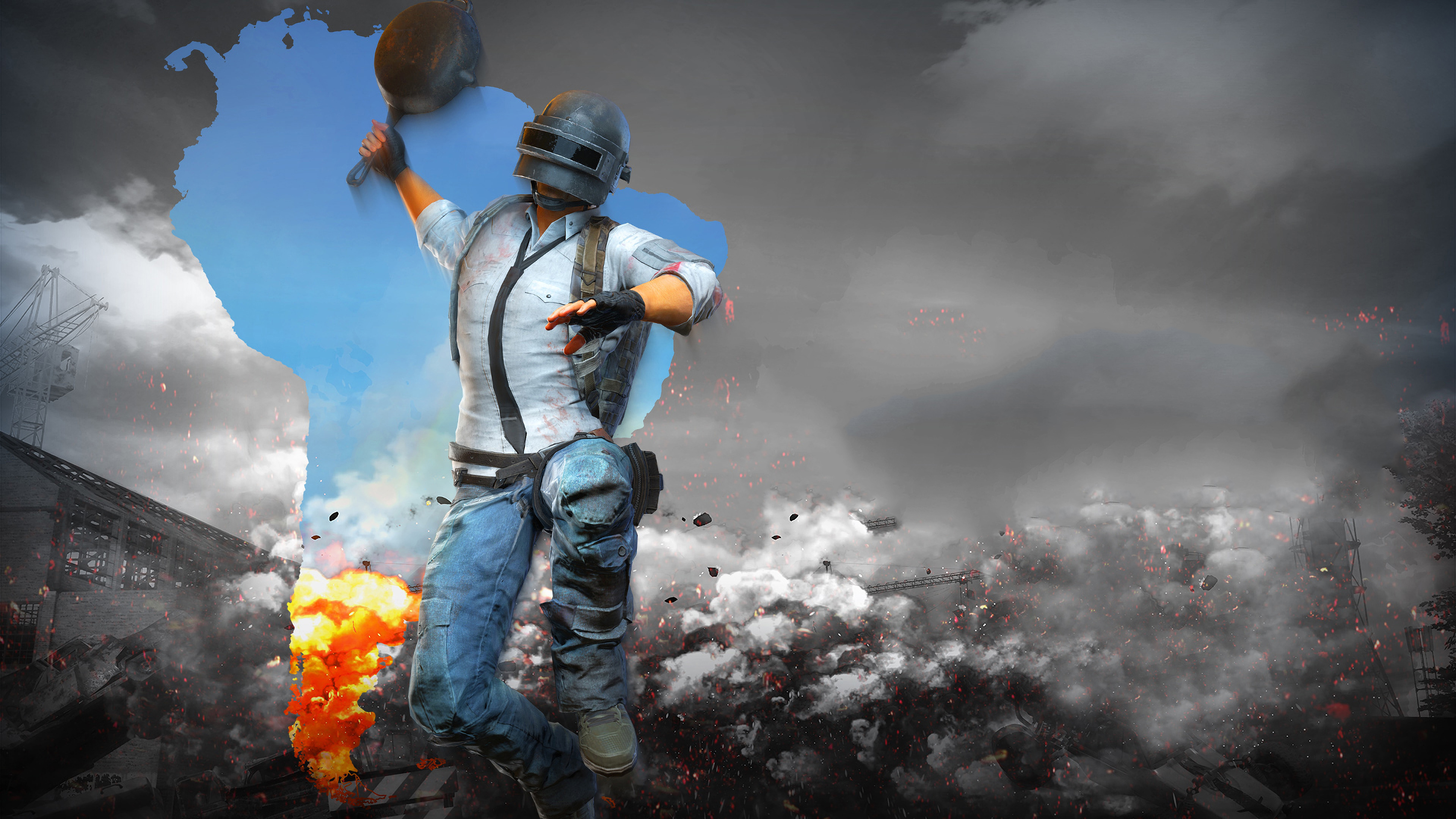 1920x1080 Pubg Characters 4k Laptop Full Hd 1080p Hd 4k: 1920x1080 PUBG Helmet Man With Pan 4k Laptop Full HD 1080P