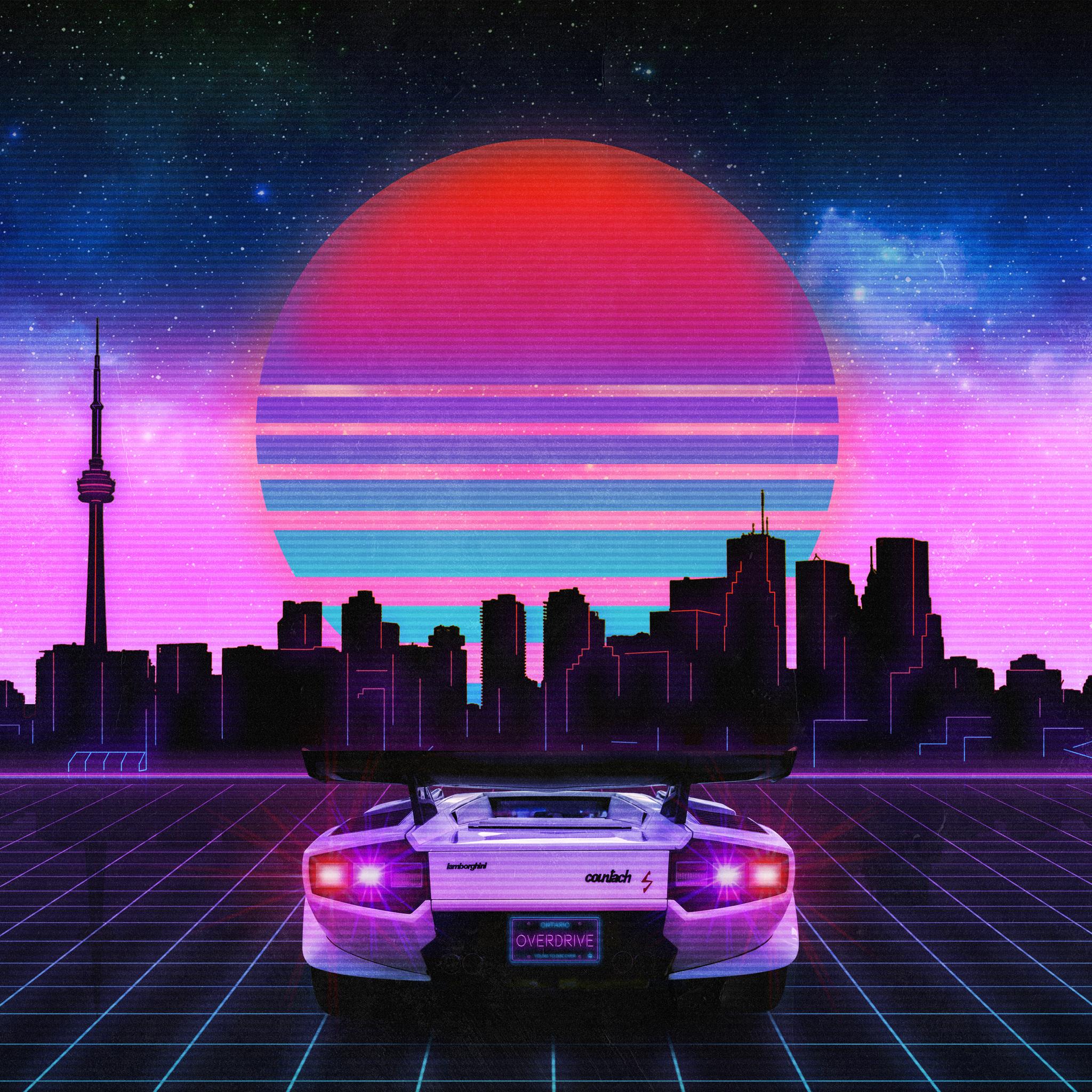 2048x2048 Retro Wave Lamborghini Neon City 5k Ipad Air HD ...