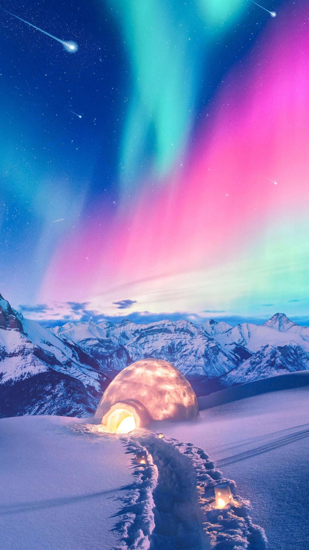 1080x1920 Snow Winter Iceland Aurora Northern Lights ...