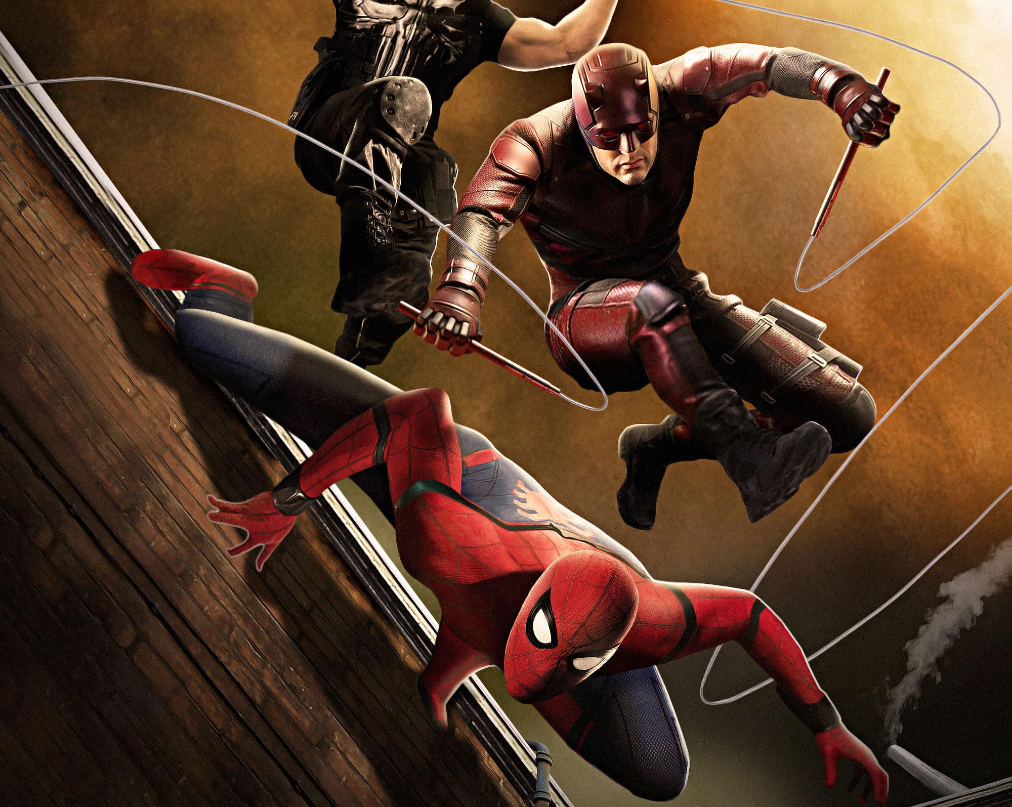 1080x1920 Daredevil Minimalism Iphone 7 6s 6 Plus Pixel: 1080x1920 Spiderman Daredevil Punisher Fan Art Iphone 7,6s