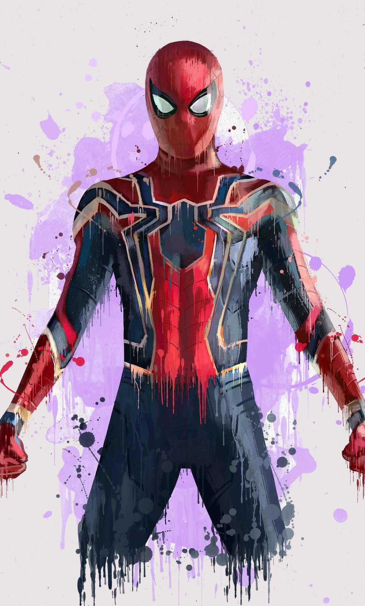 1280x2120 spiderman in avengers infinity war 2018 artwork