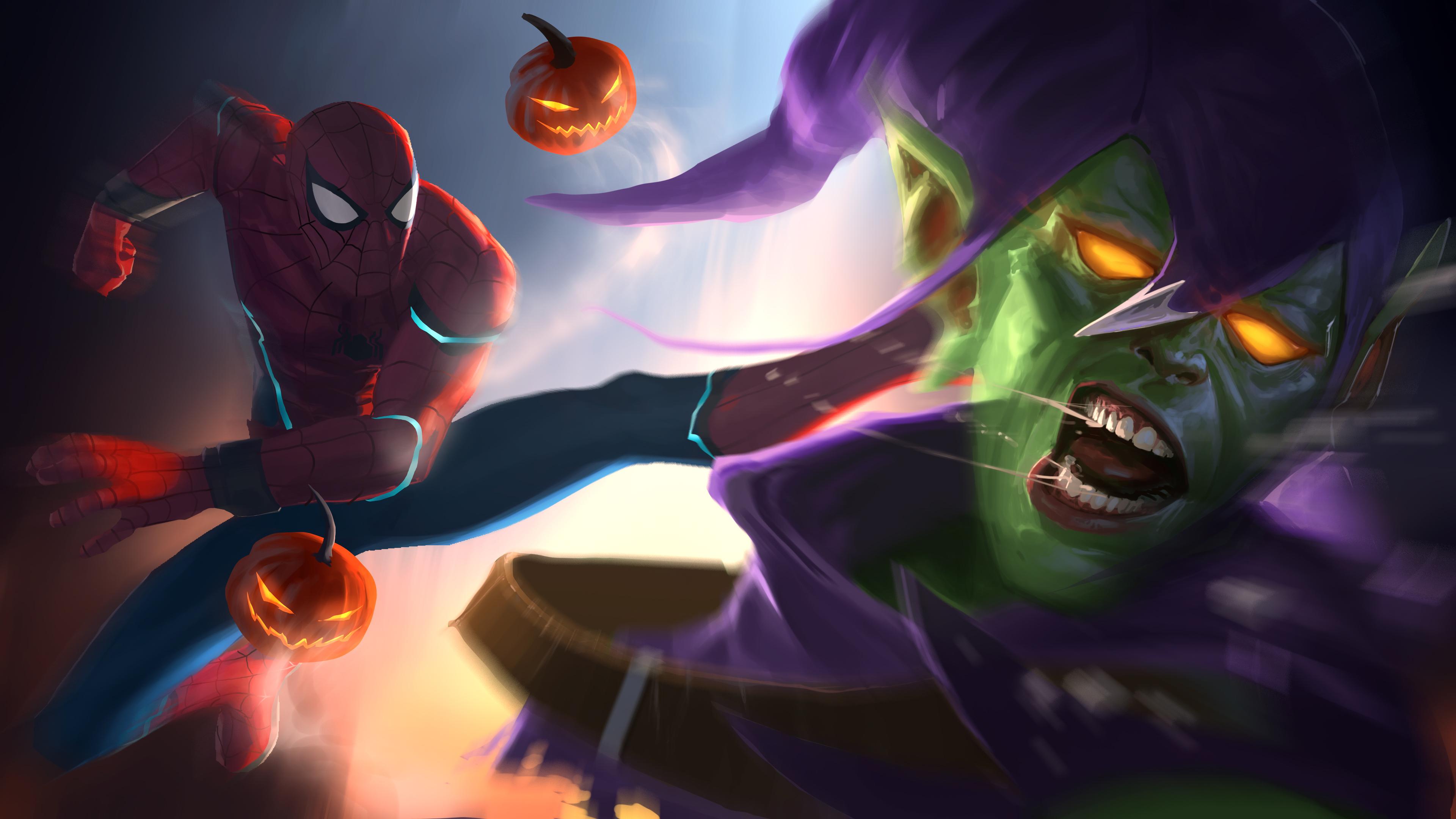 2560x1440 spiderman kicking goblin 1440p resolution hd 4k - Moving spider desktop ...
