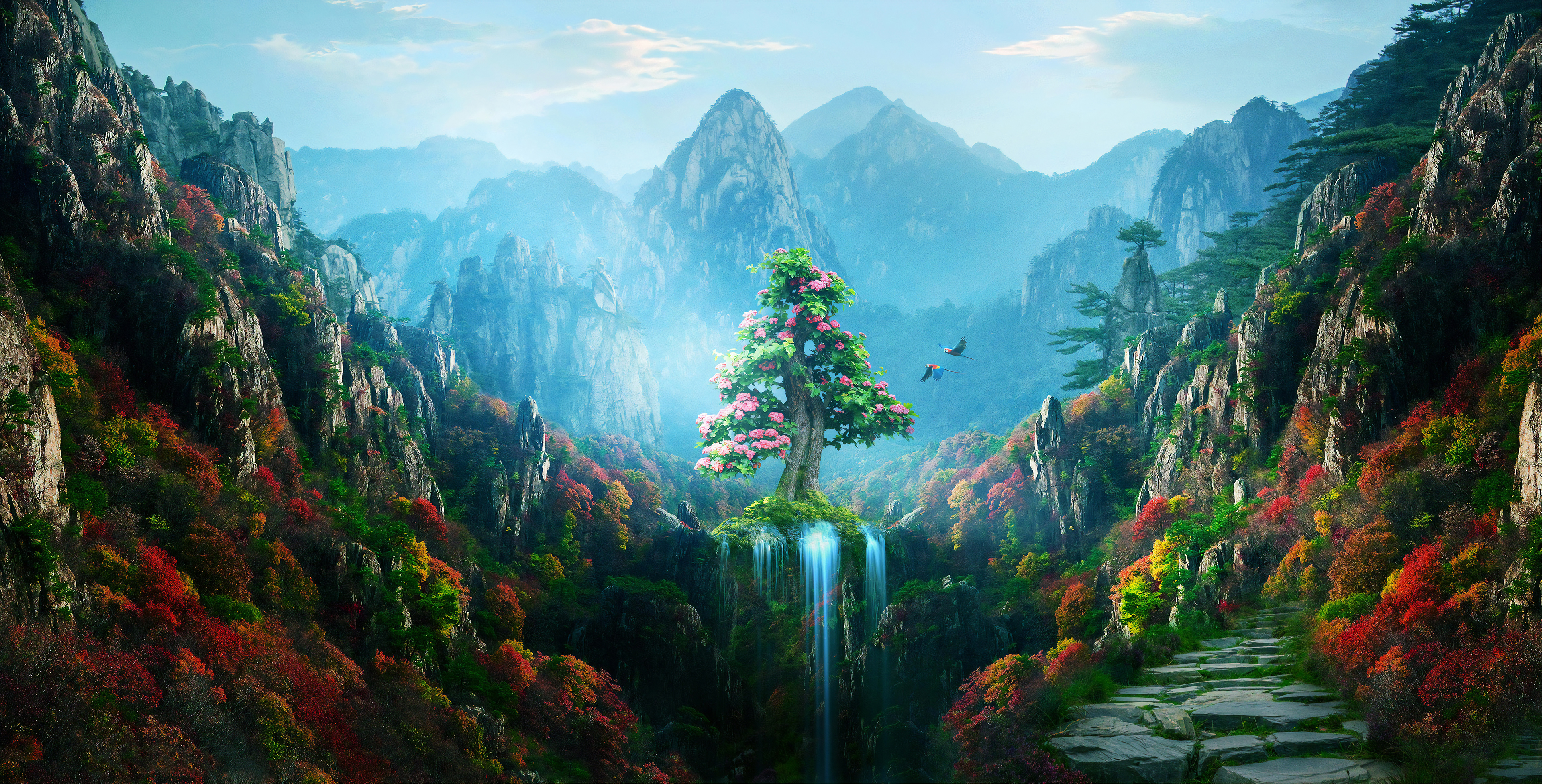 Spring autumn colorful nature magical forest 4k hd artist 4k wallpapers images backgrounds - 4k colorful wallpaper ...