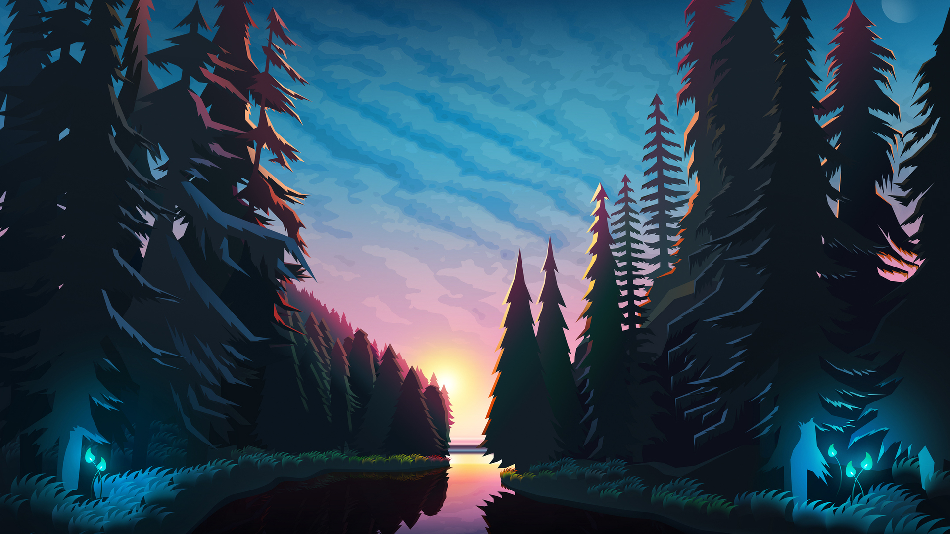 1920x1080 Sundown Landscape Minimalist Laptop Full HD ...
