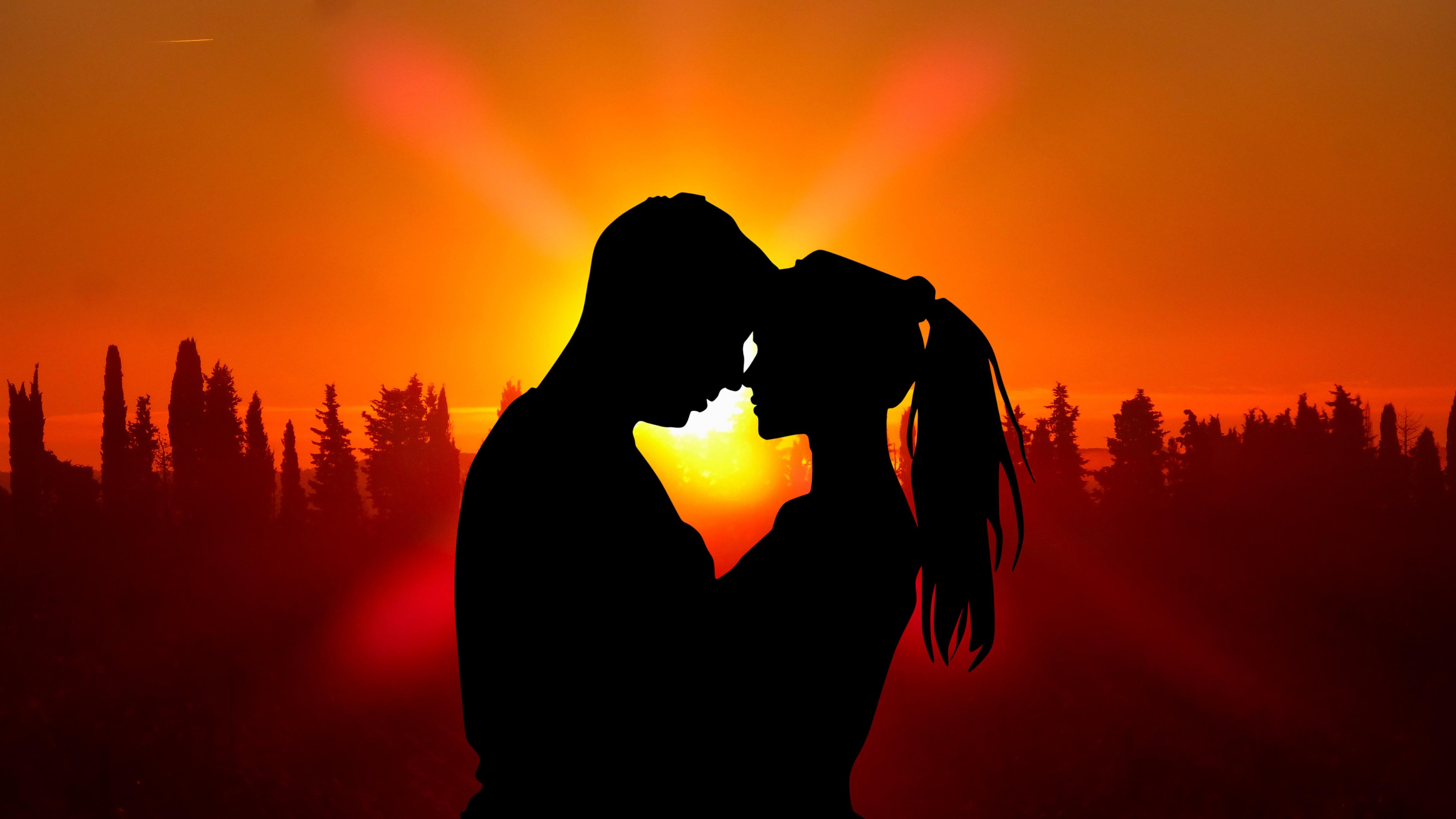 1920x1080 Sunset Couple Love Silhouette 5k Laptop Full HD ...