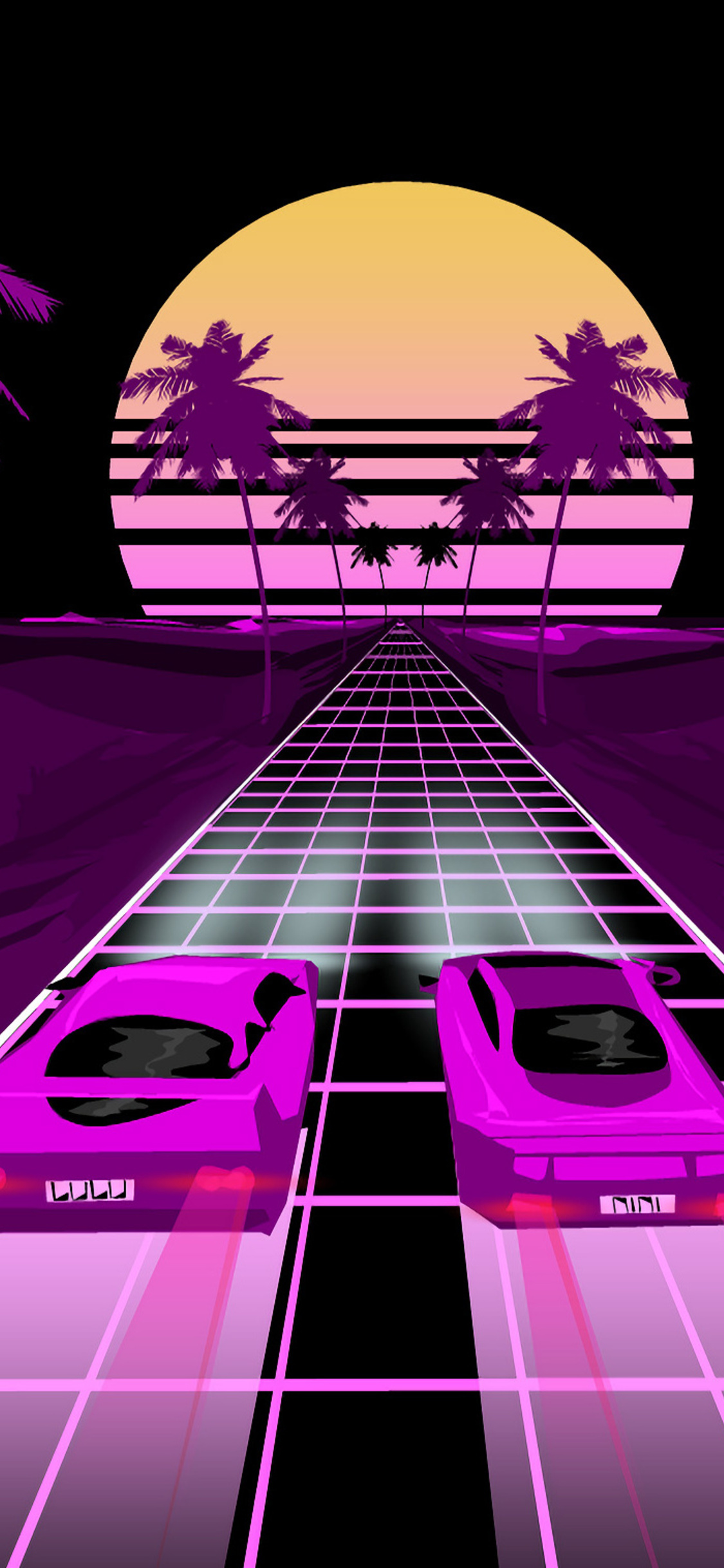 1125x2436 Two Sports Car Retrowave Art Iphone XS,Iphone 10 ...