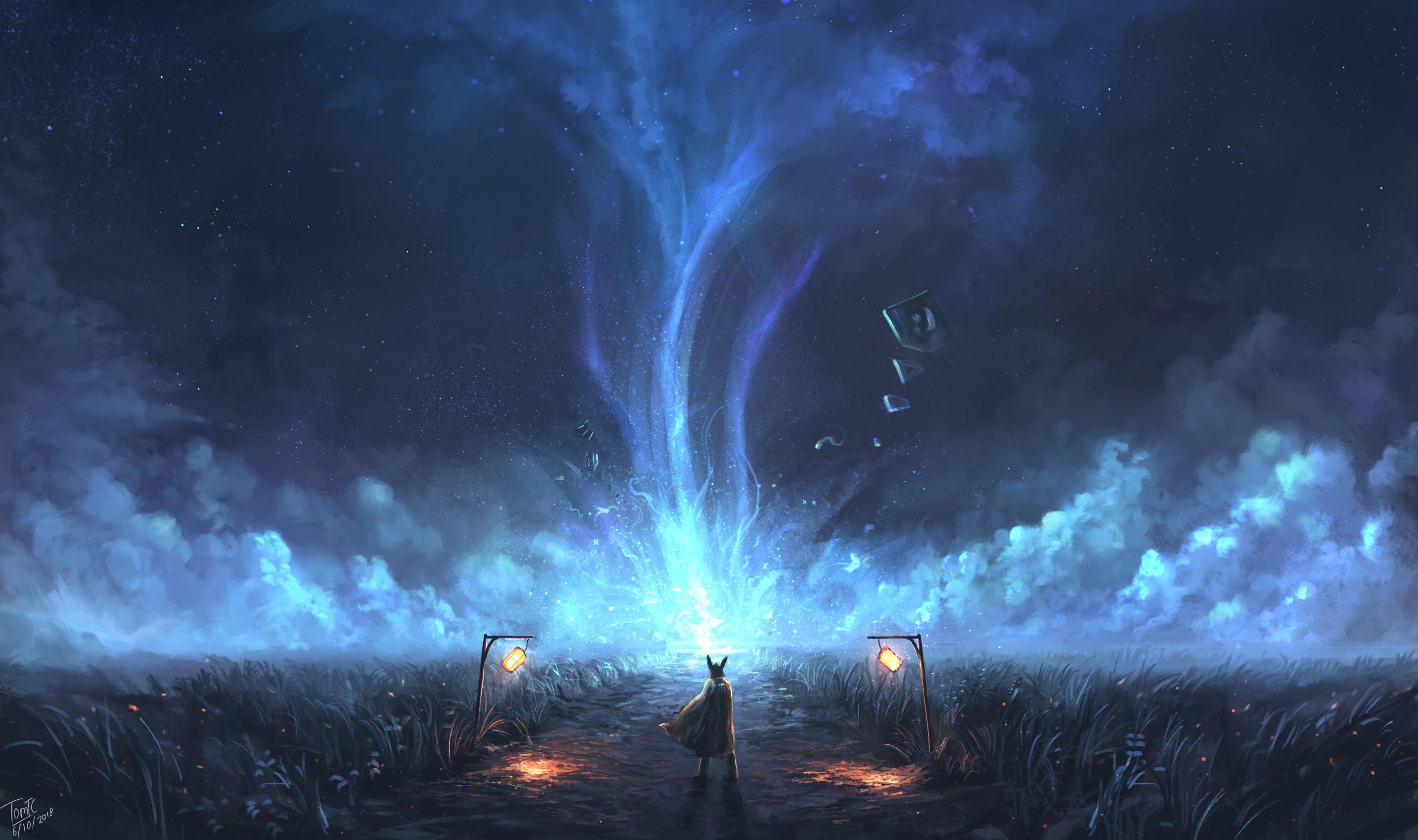 2560x1080 Final Fantasy Xv Artwork 2560x1080 Resolution Hd: 2560x1080 Warrior Bright Night Starscapes Digital Art