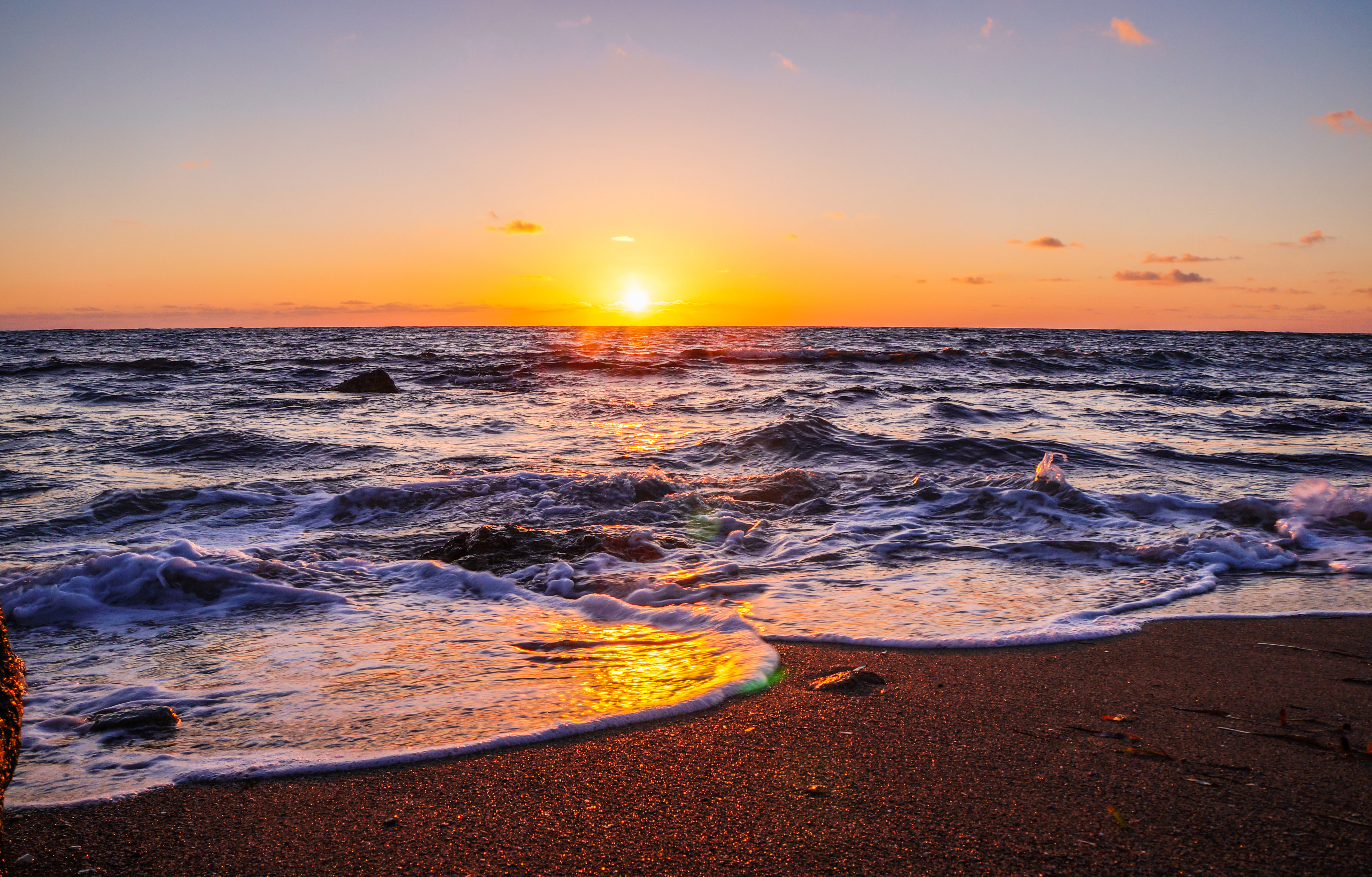 3840x2160 Waves Beach Sunset 5k 4k HD 4k Wallpapers ...