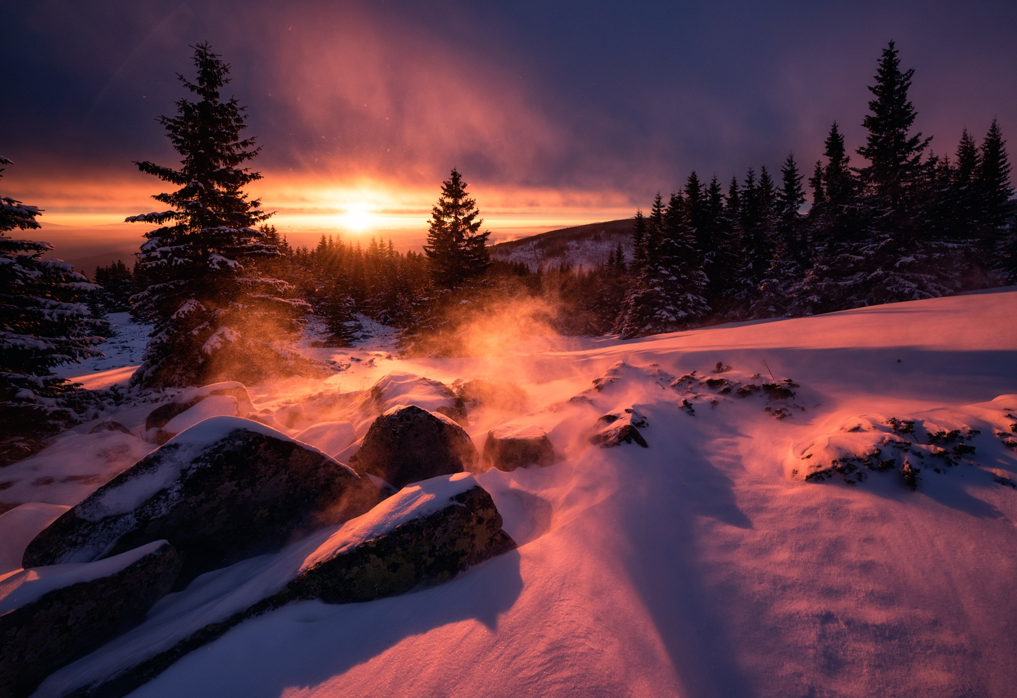 Winter Snow Sunset Hd Nature 4k Wallpapers Images