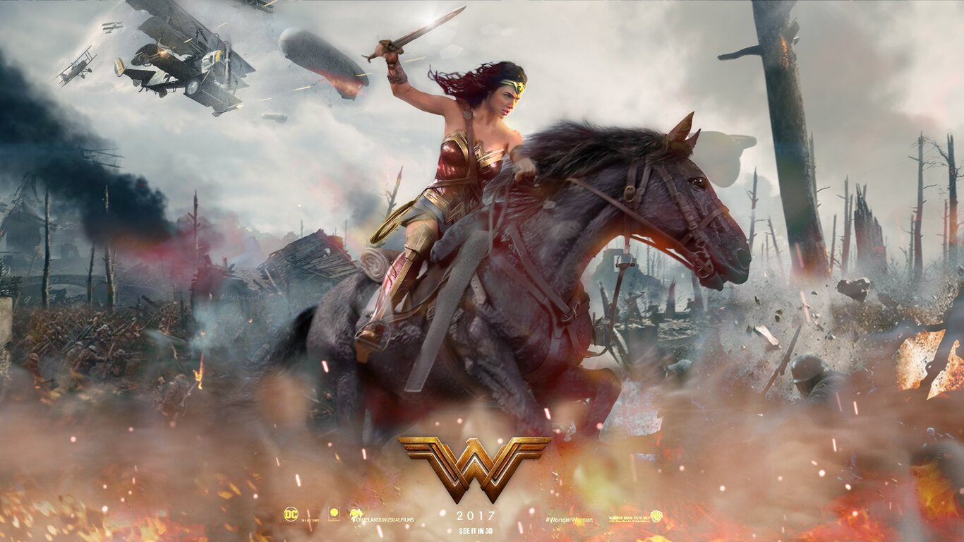 Wallpaper Wonder Woman 2017 Movies 6723: 1366x768 2017 Wonder Woman Movie Fan Art 1366x768