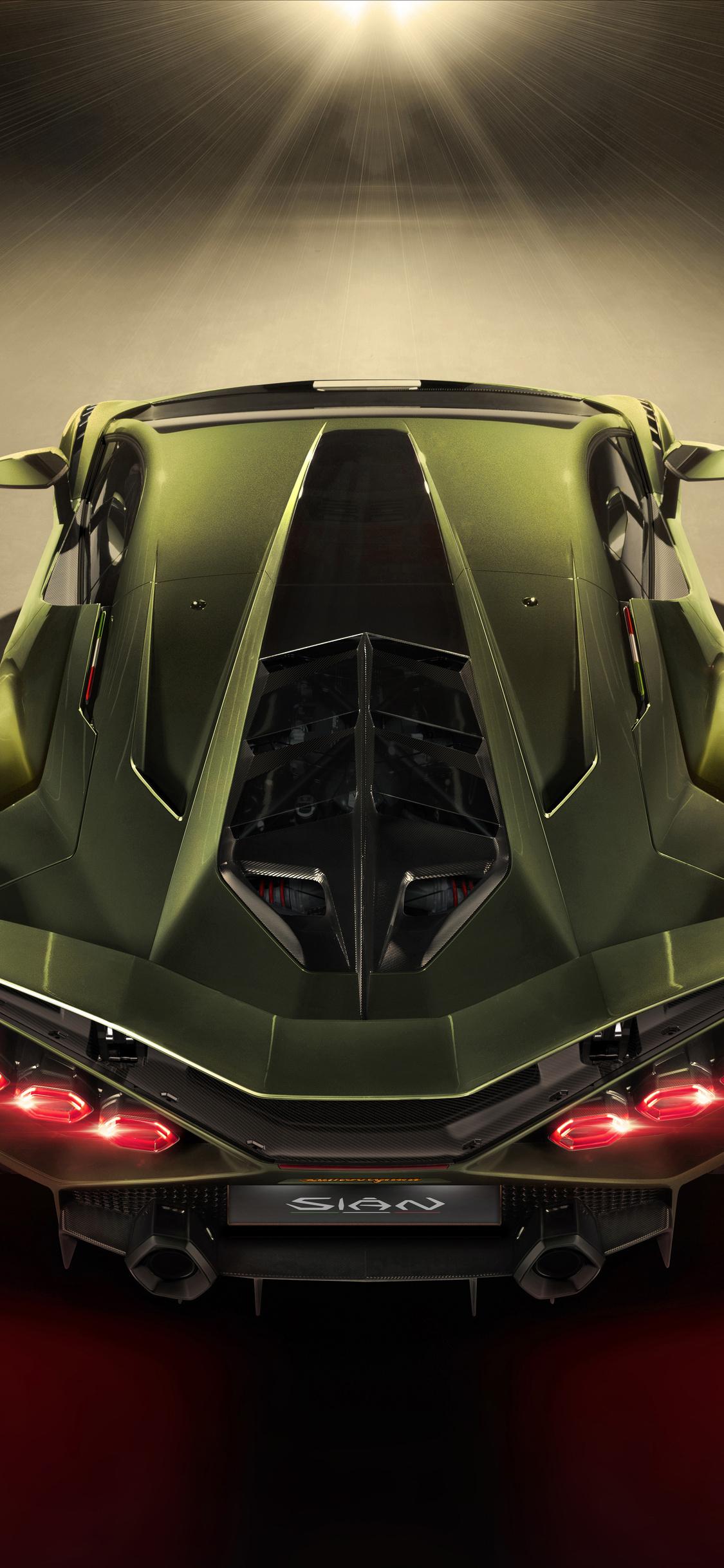 1125x2436 2019 8k Lamborghini Sian Upper View Iphone XS