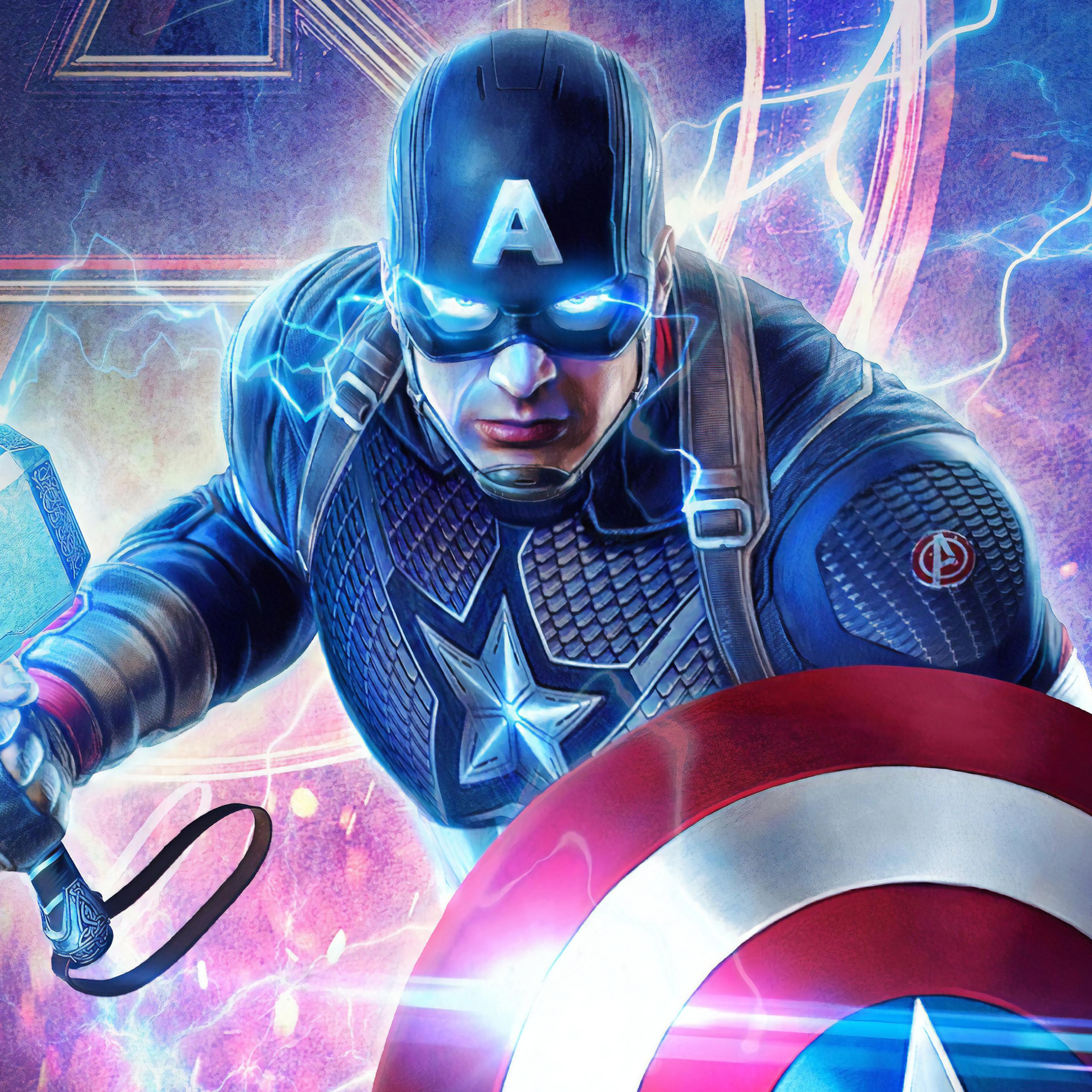 2932x2932 2019 Captain America Mjolnir Avengers Endgame 4k